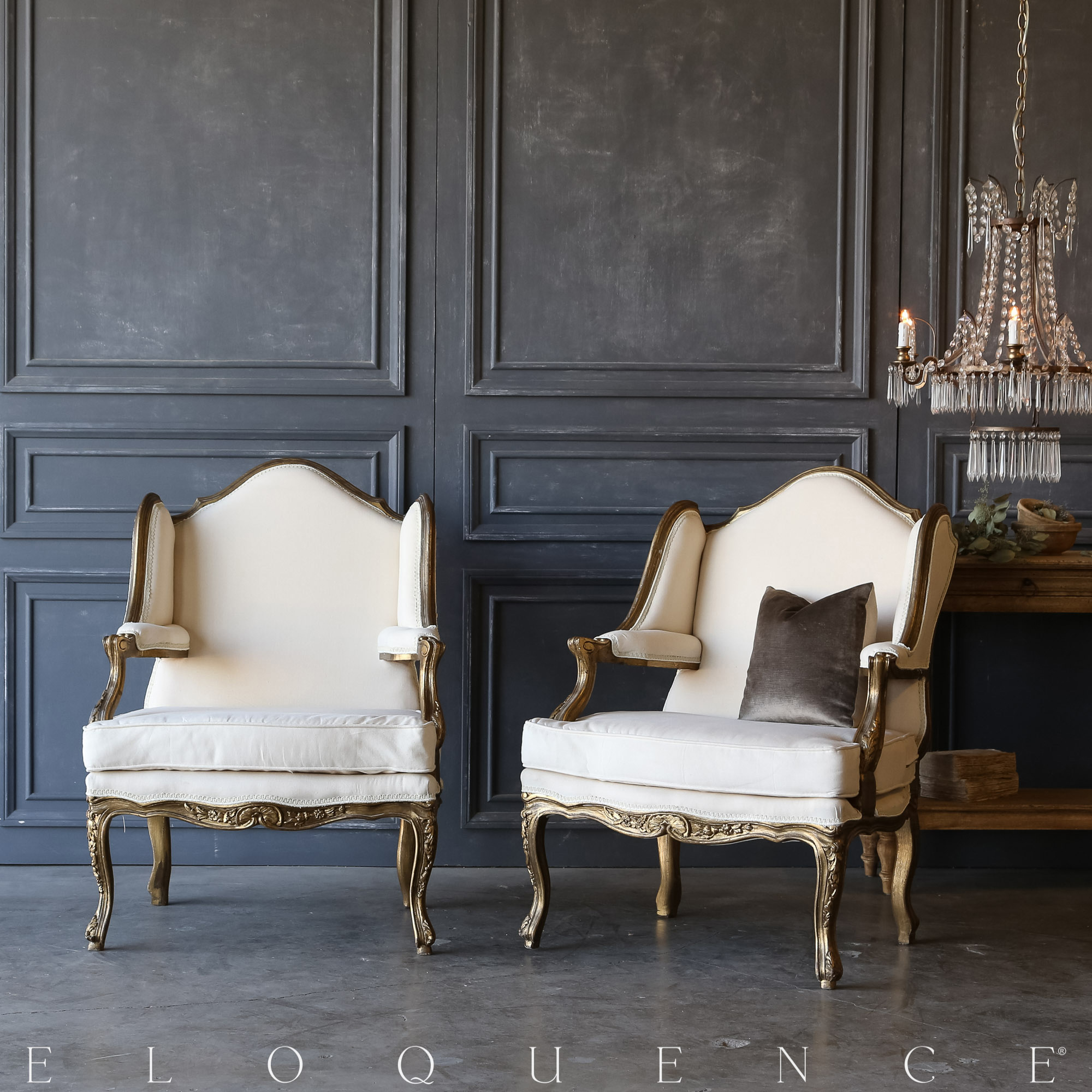 Eloquence® Pair of Vintage Gilt High Back Bergeres: 1940