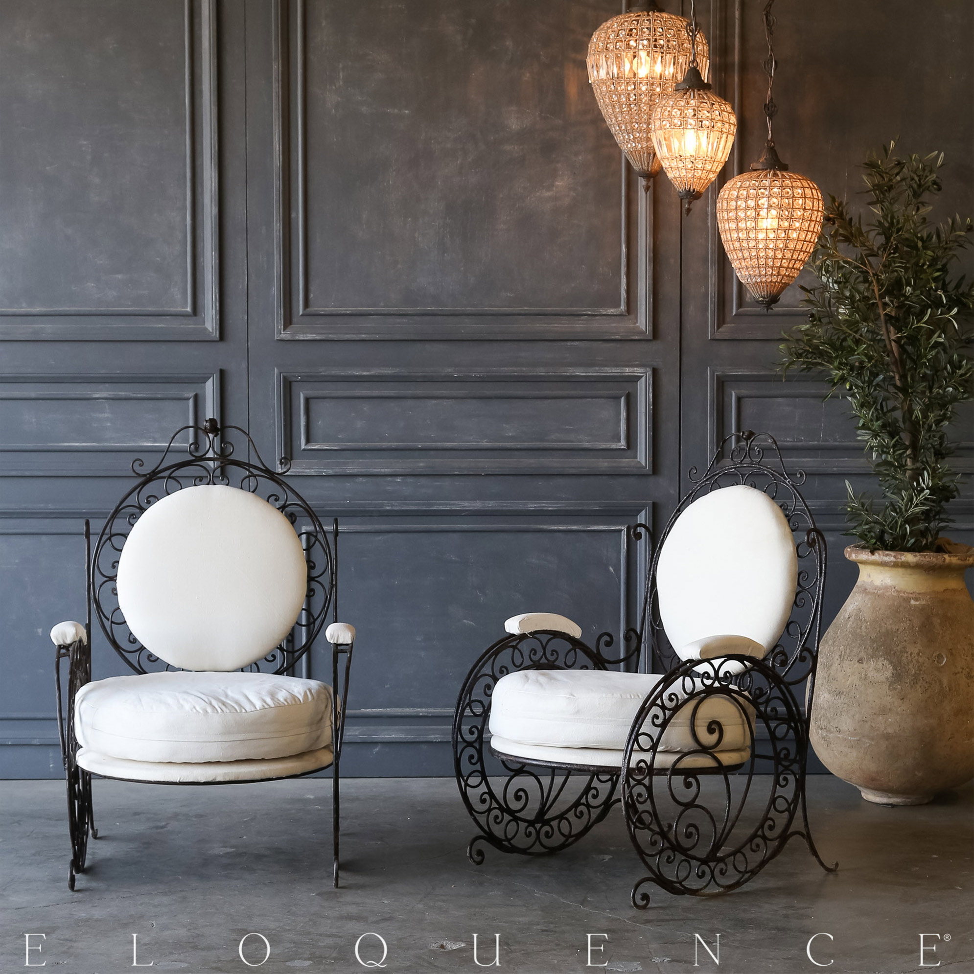 Eloquence® Pair of Vintage Steel Scroll Garden Chairs: 1940