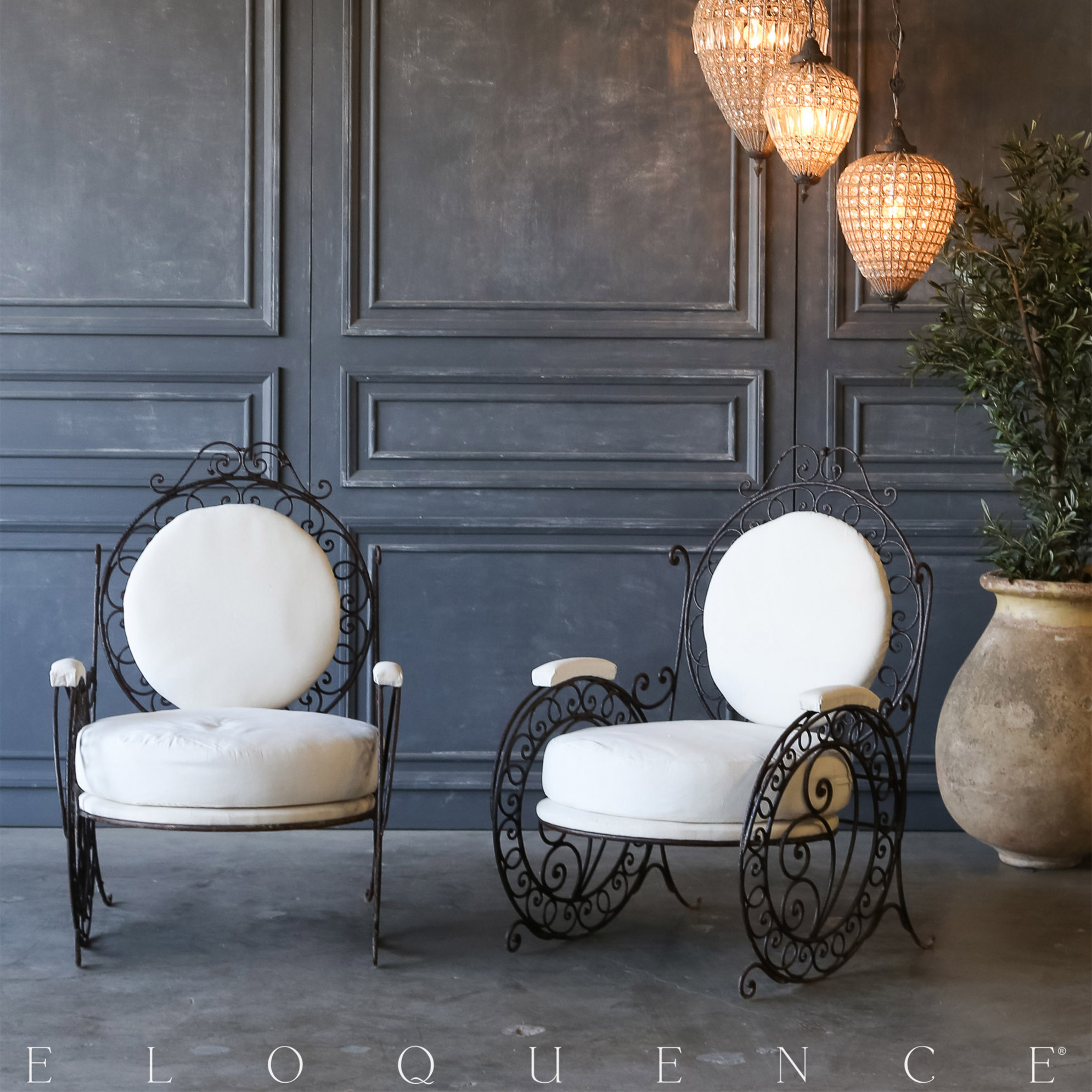 Eloquence® Pair of Vintage Steel Garden Chairs: 1940