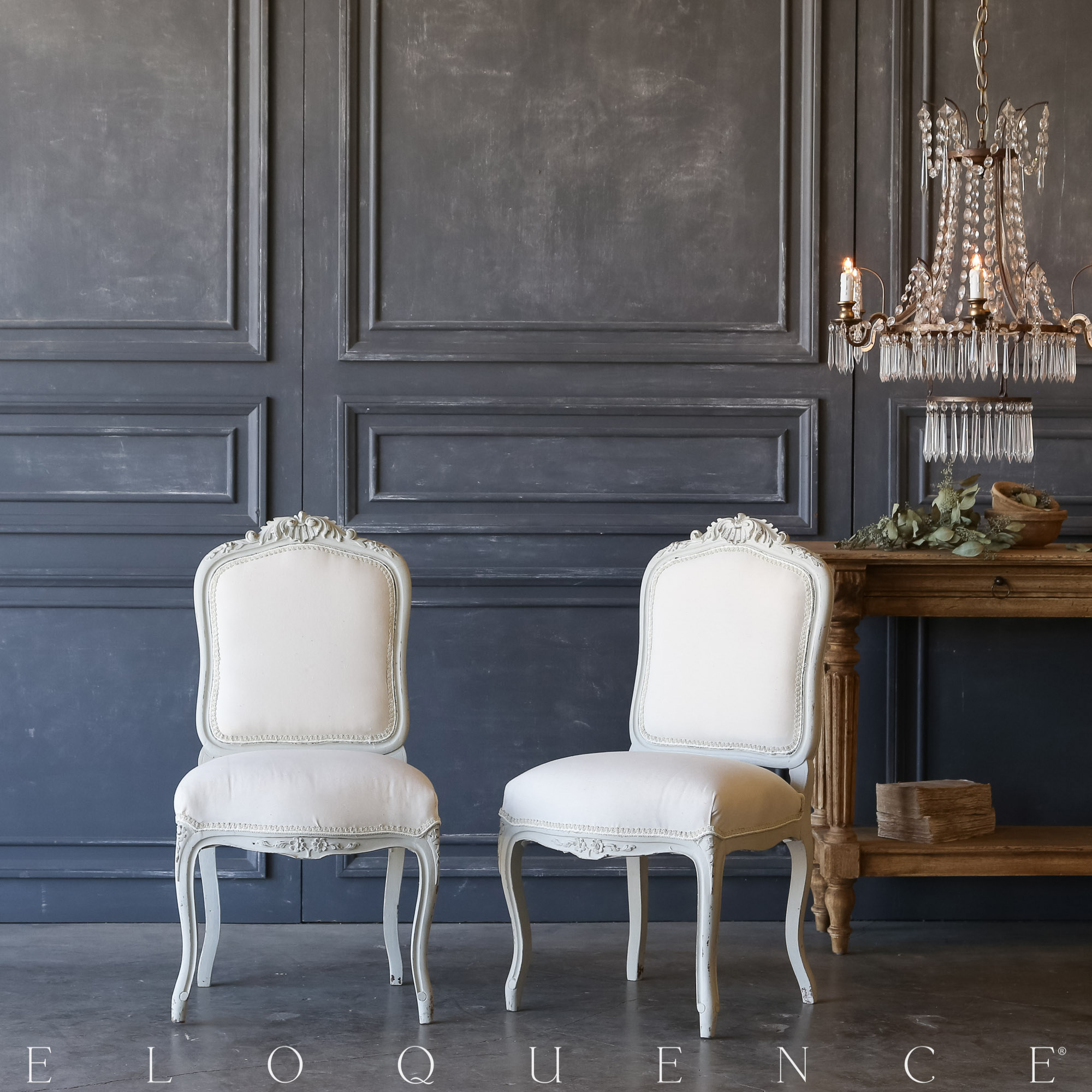 Eloquence® Pair of Vintage Rustic White Side Chairs: 1940