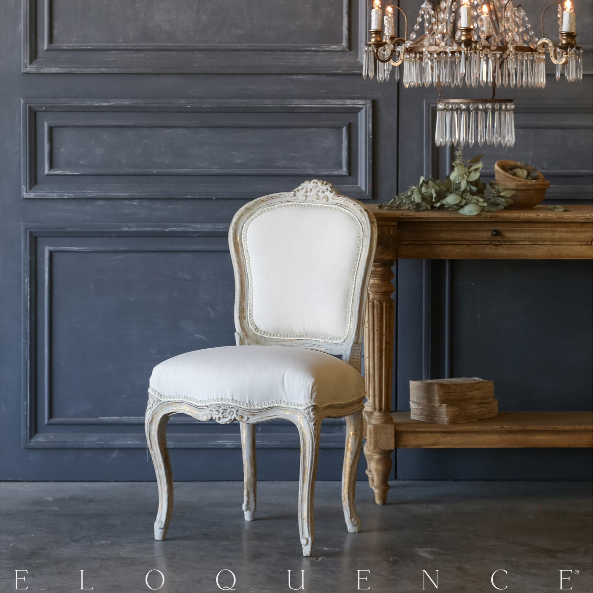 Eloquence® Single Gilt Grey Vintage Side Chair: 1940
