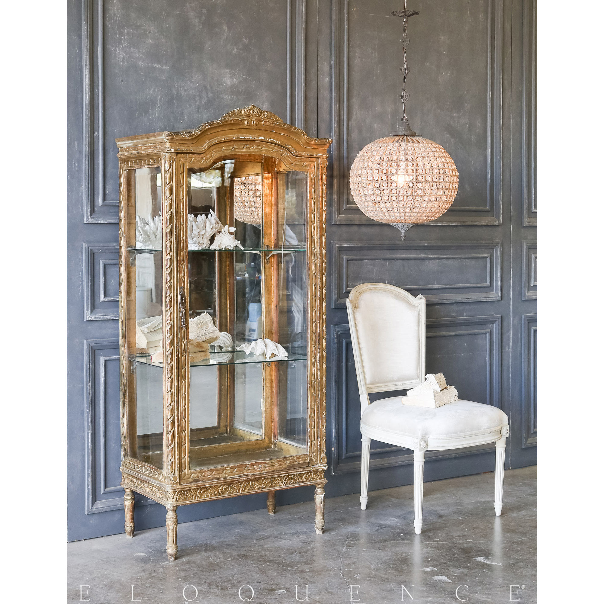 Eloquence® Vintage Distressed Gold Vitrine: 1940