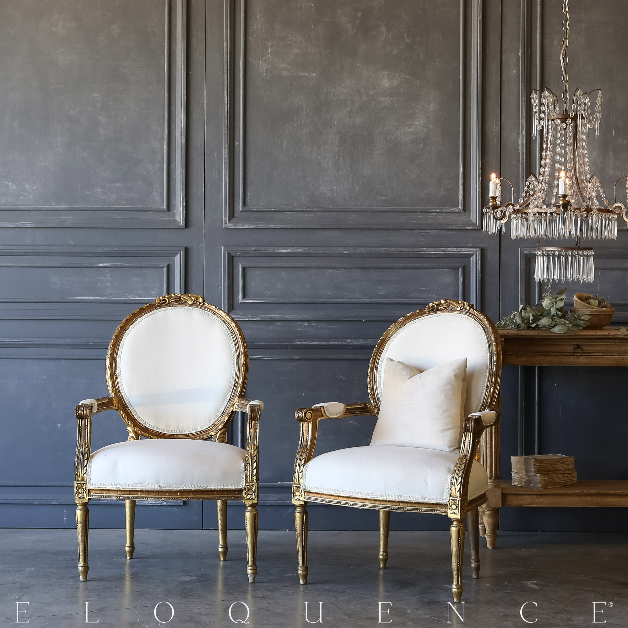 Eloquence® Pair of Vintage Gold Acanthus Armchairs: 1940