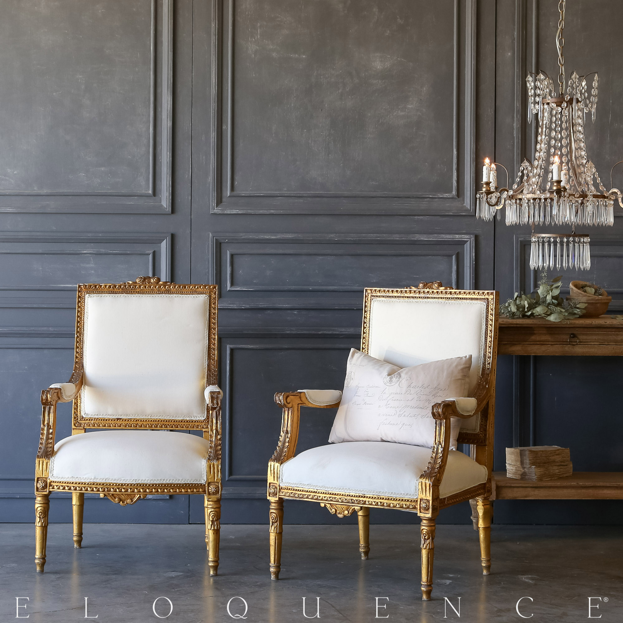 Eloquence® Pair of Vintage Bright Gilt Armchairs: 1940