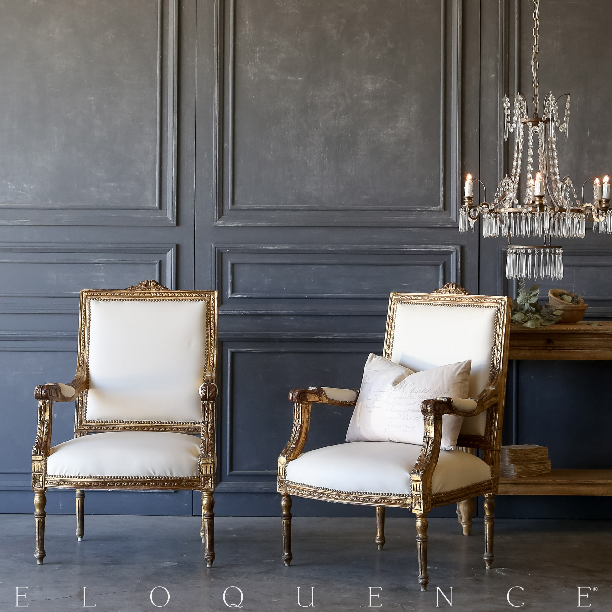 Eloquence® Pair of Vintage Gilt Leather Armchairs: 1940