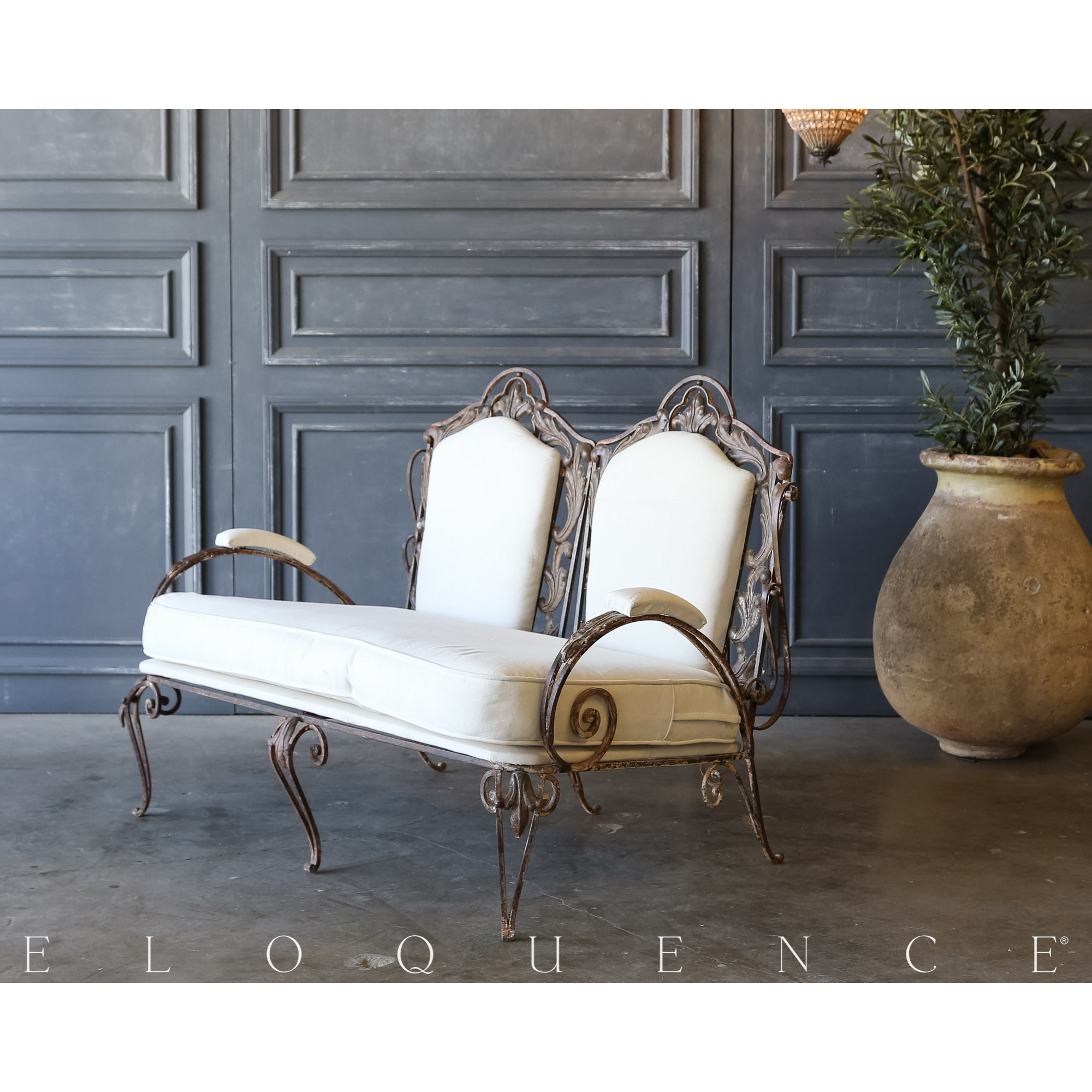Eloquence® Vintage Aged Iron Steel Settee: 1940