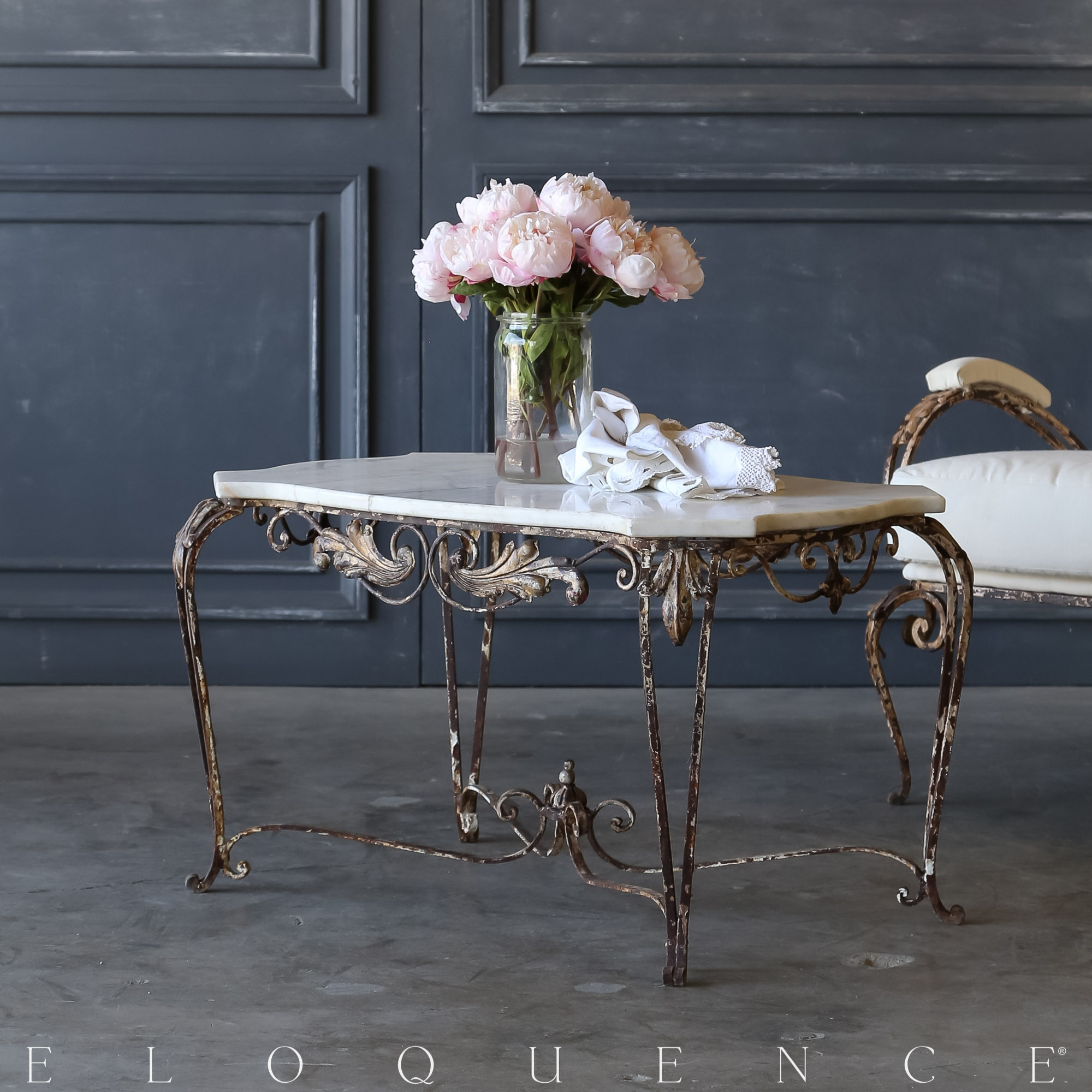 Eloquence® Vintage Steel Garden Coffee Table: 1940