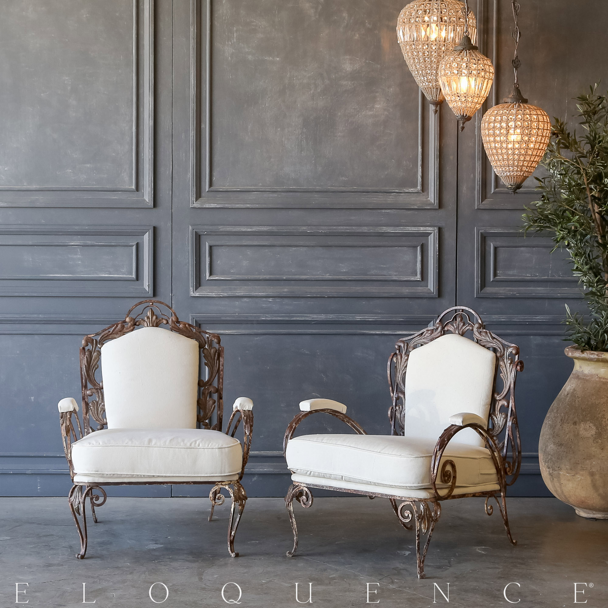 Eloquence® Pair of Vintage Aged Iron Garden Chairs: 1940