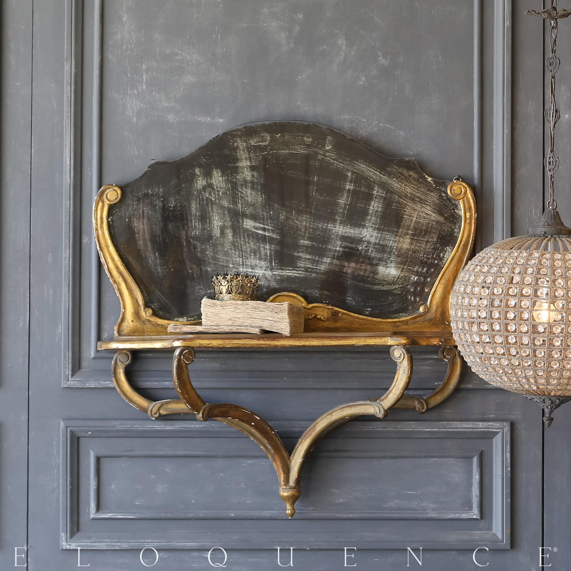 Eloquence® Vintage Aged Black Mirrored Shelf: 1940
