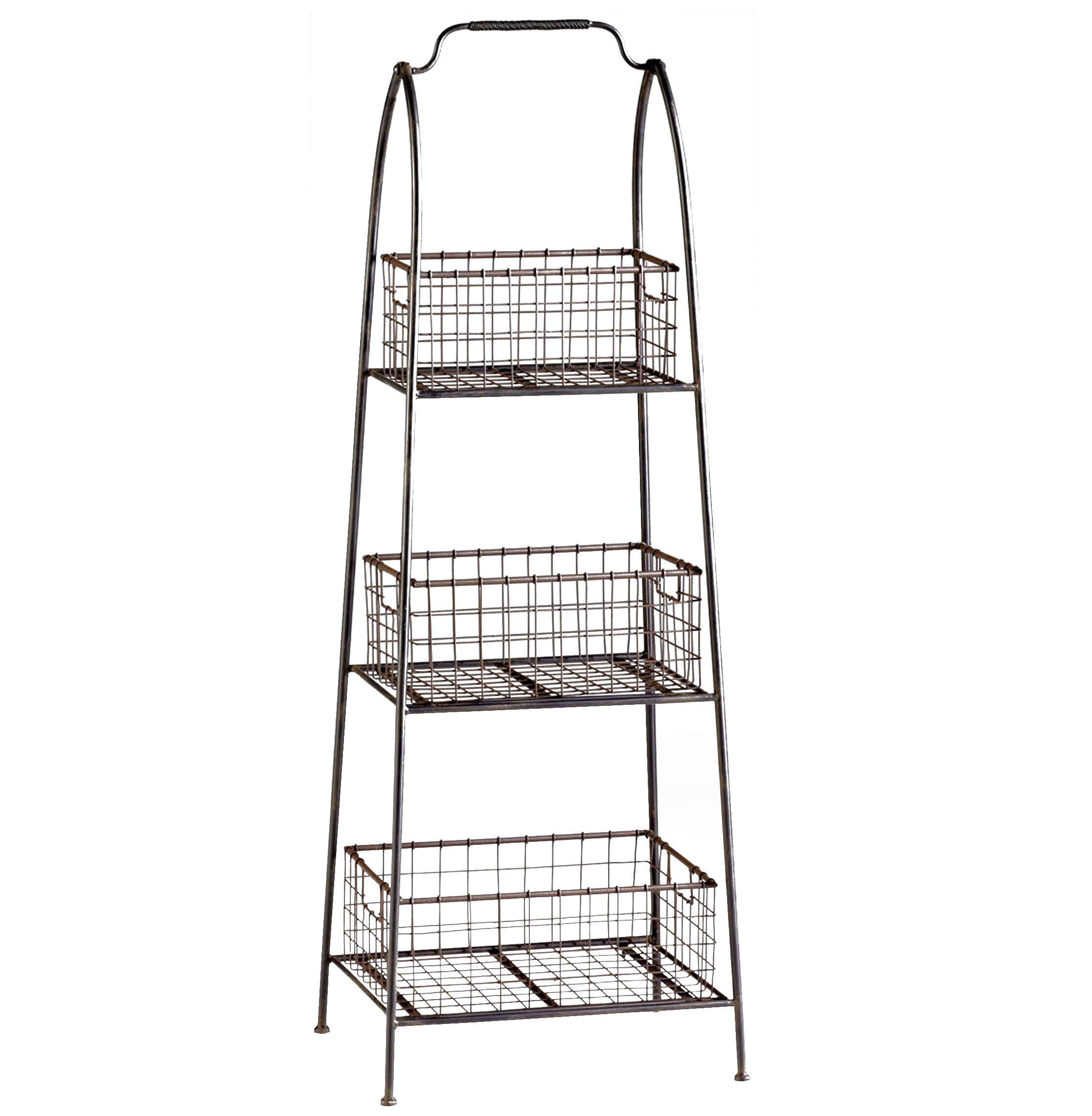 Essex Farmhouse Cottage Floor Standing Basket Shelf