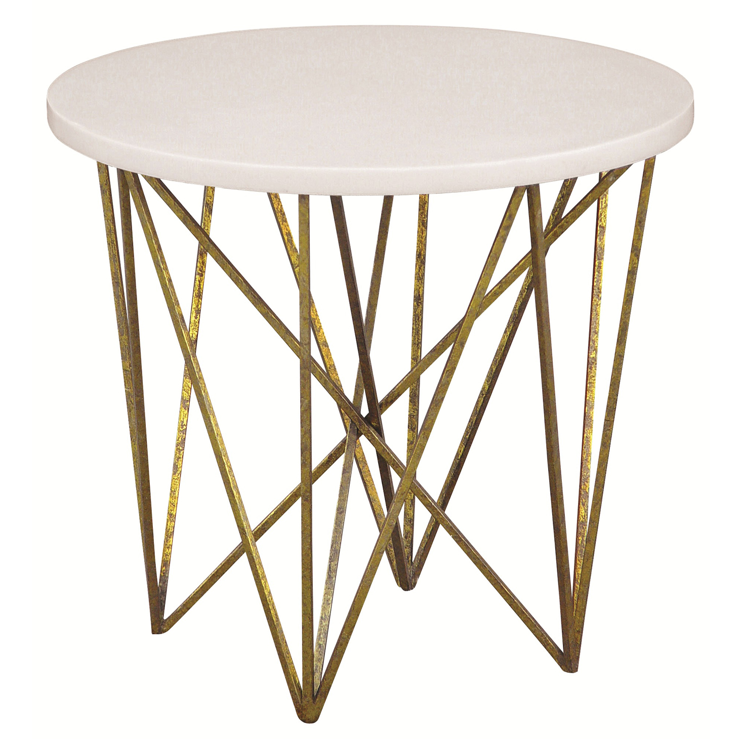 George Oly White Shell Gold Hairpin End Table