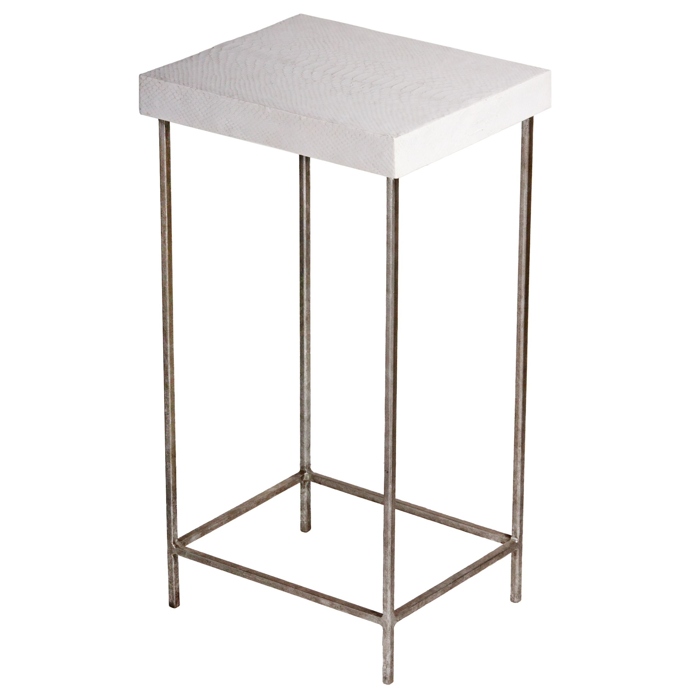 Oly Baby George Faux White Snakeskin Silver End Table