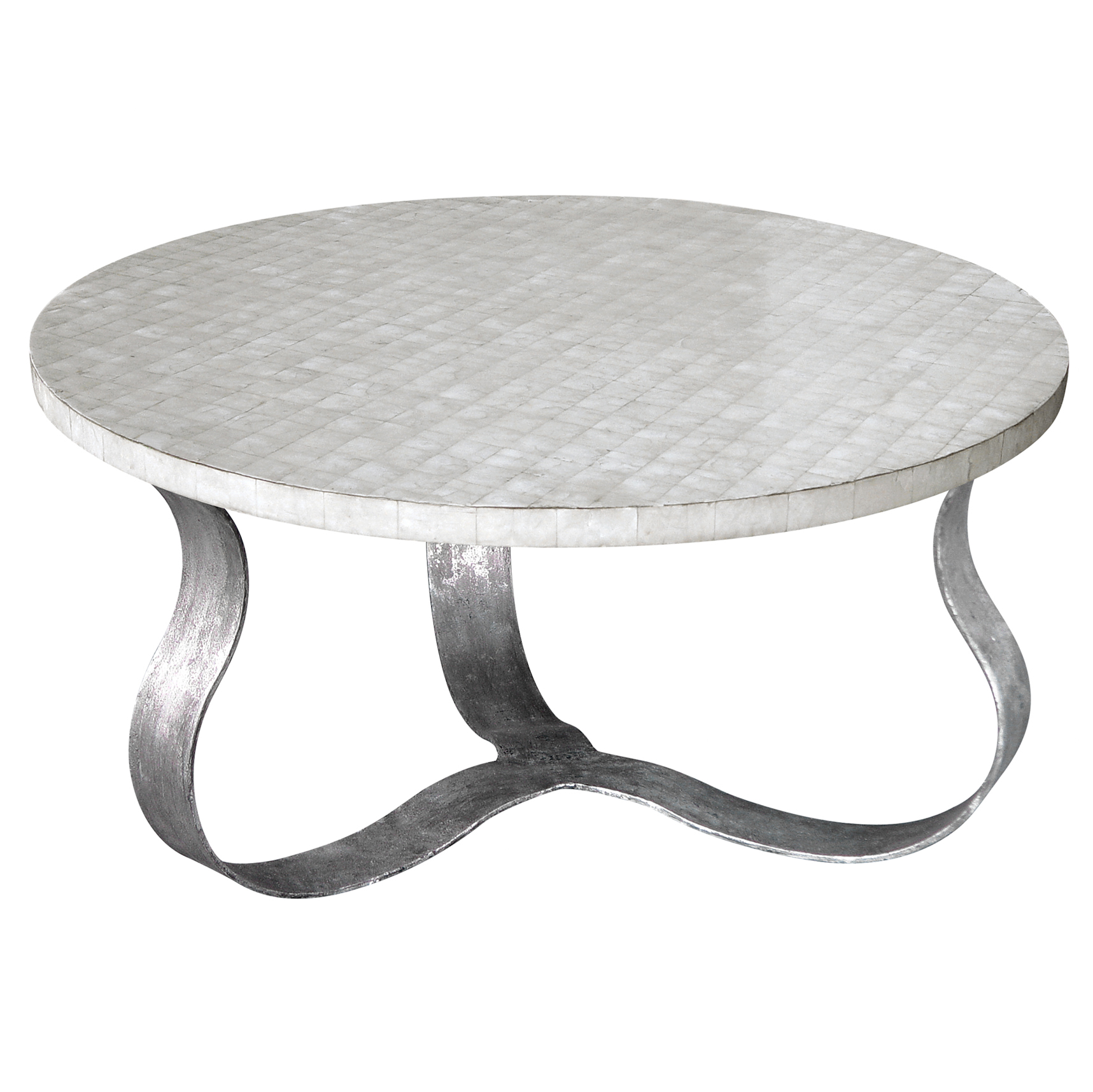Pico Oly White Shell Antique Silver Coffee Table