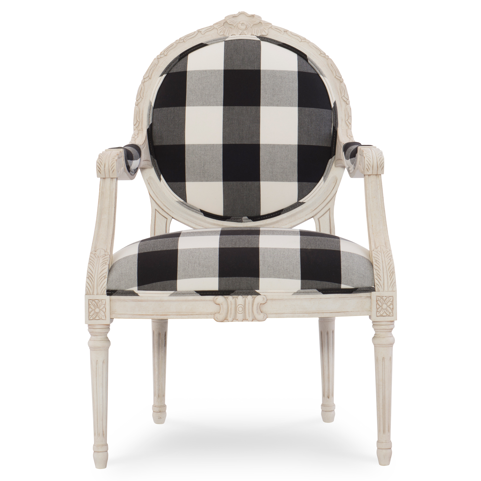 Pearl French Ivory Checked Louis Armchair