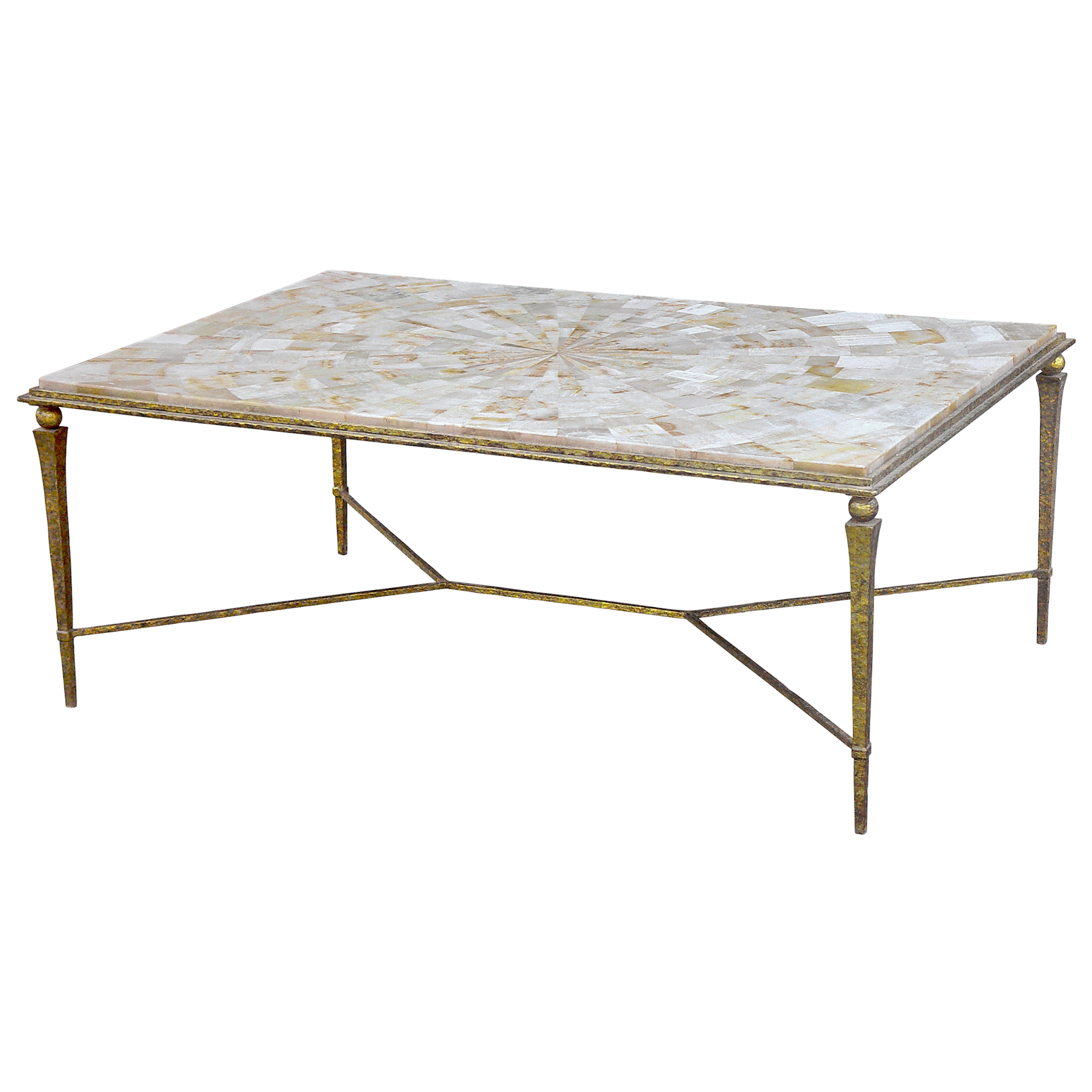 Yves Oly Shell Antique Gold Coffee Table
