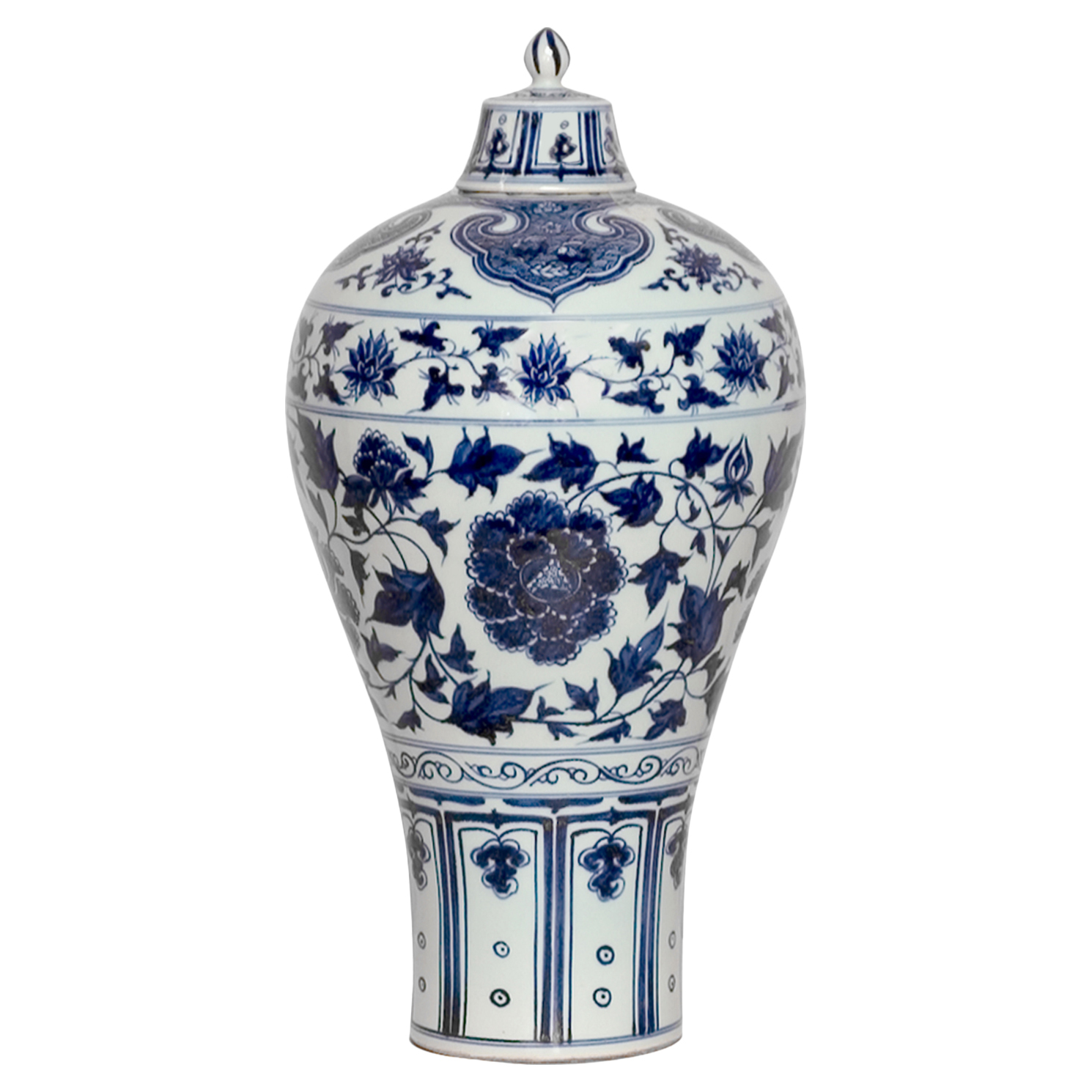 Peony Global Bazaar Blue Glazed Ginger Jar