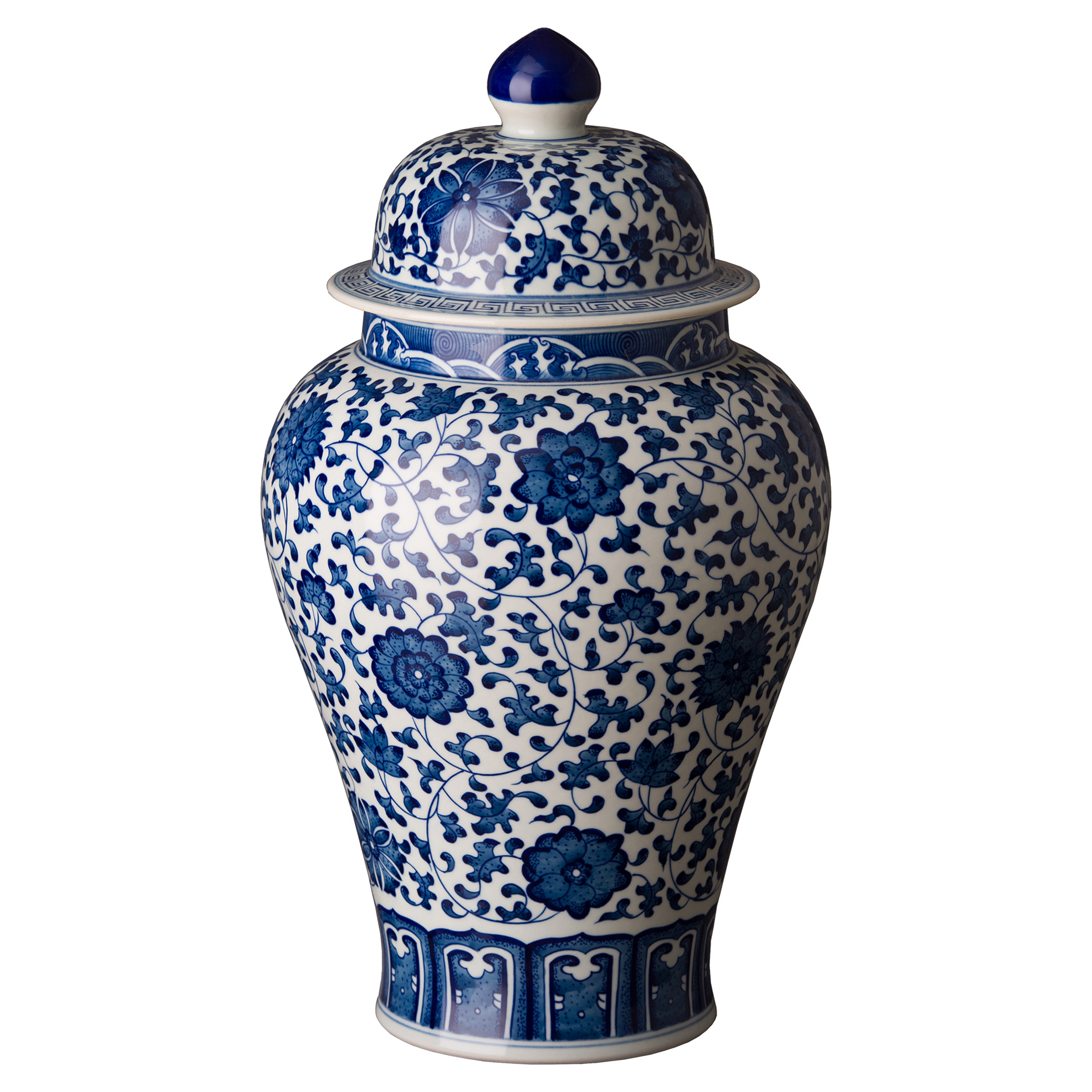 Floral Blue Global Glazed Ceramic Ginger Jar
