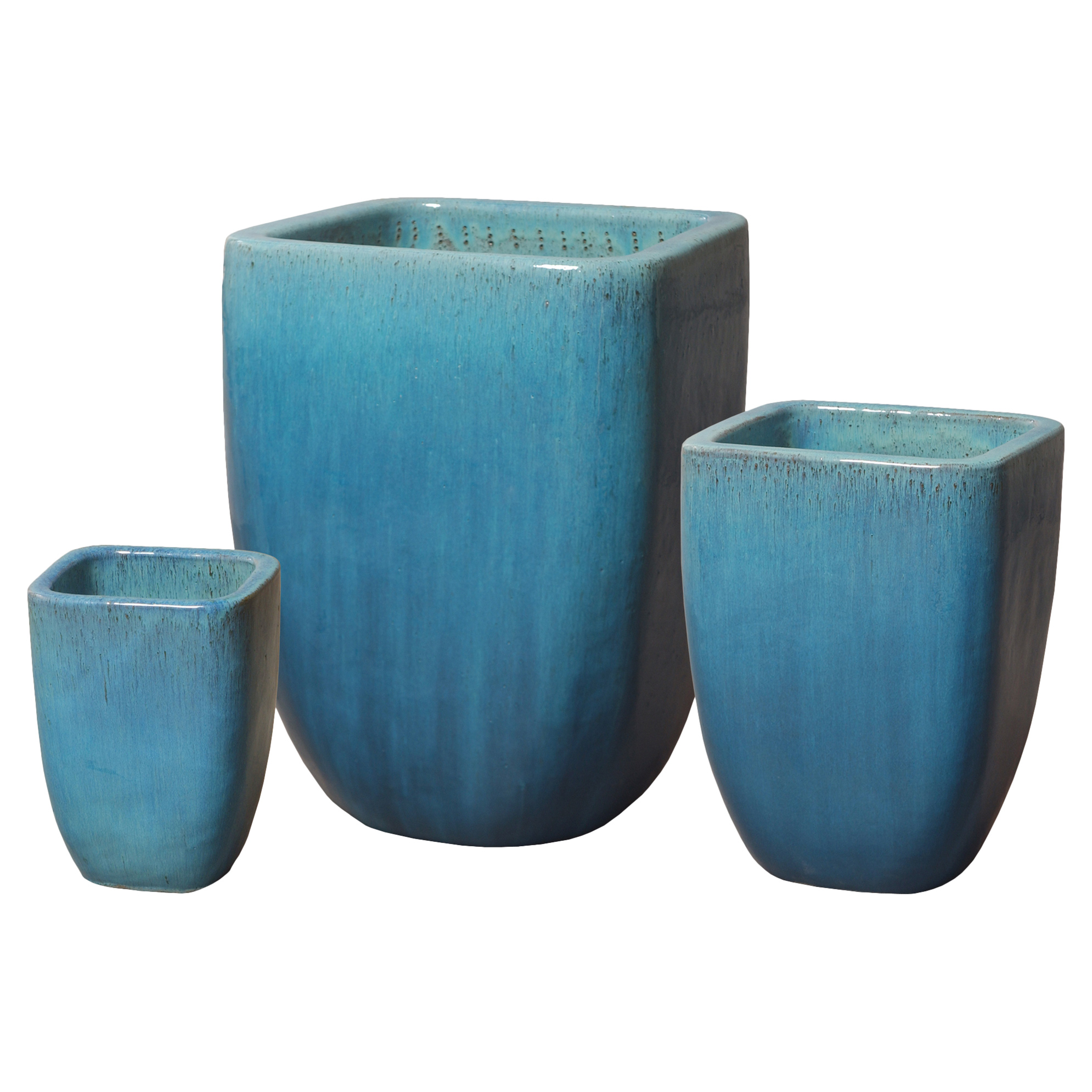 Kami Coastal Beach Square Blue Ceramic Planters - Set of 3