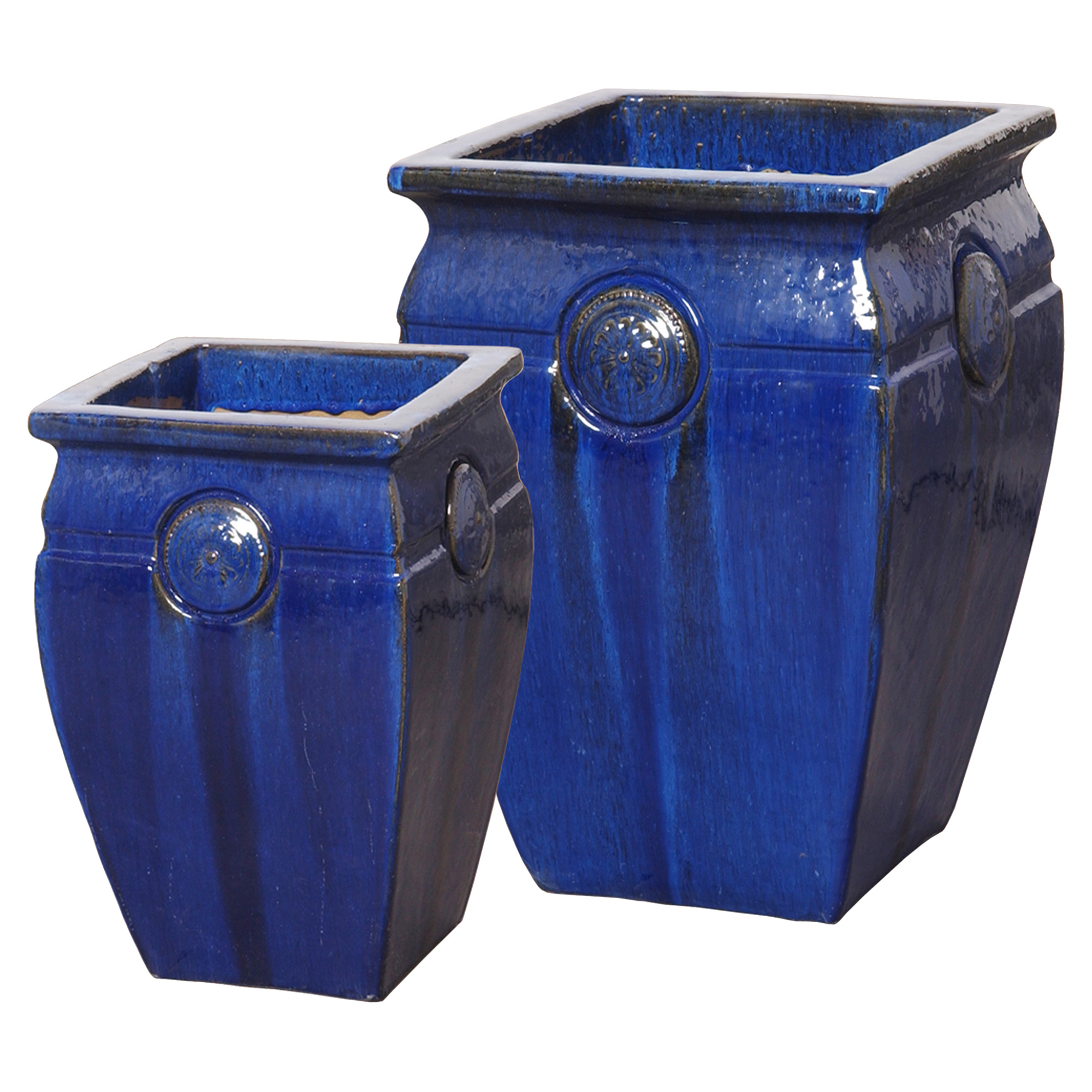 Medallion French Country Blue Ceramic Pots - Set of 2