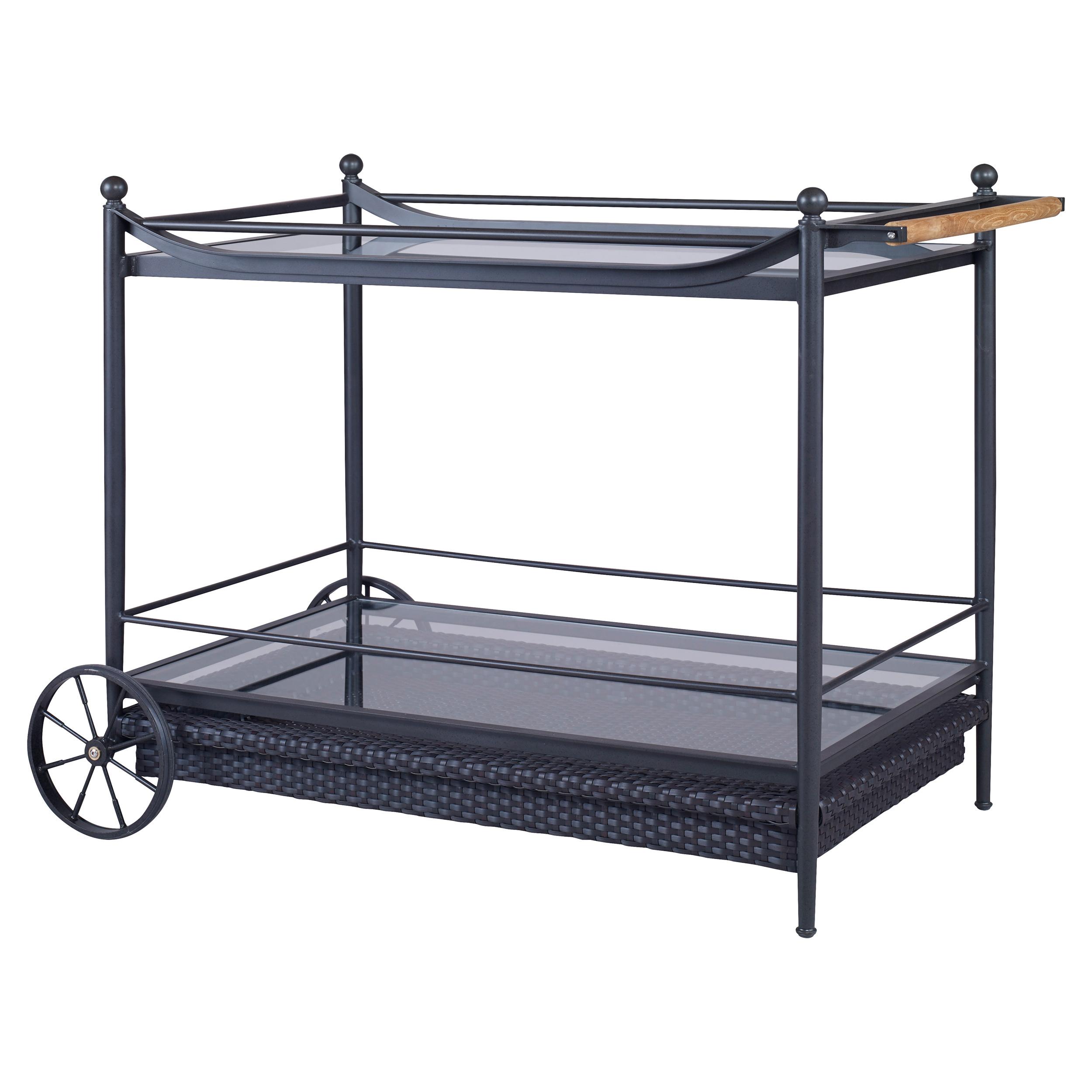 Olivia Knob Woven Black Outdoor Bar Cart