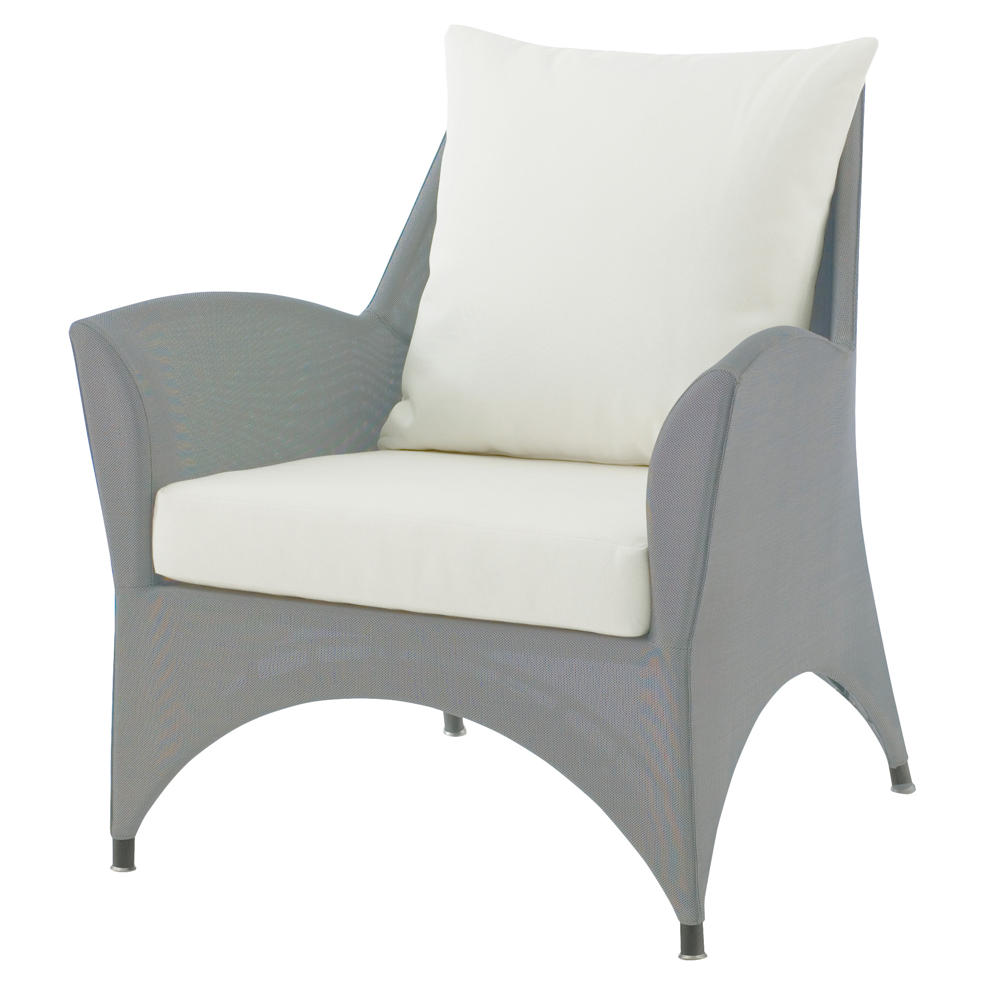 Keenan Contemporary Grey Outdoor Ivory Lounge Chair