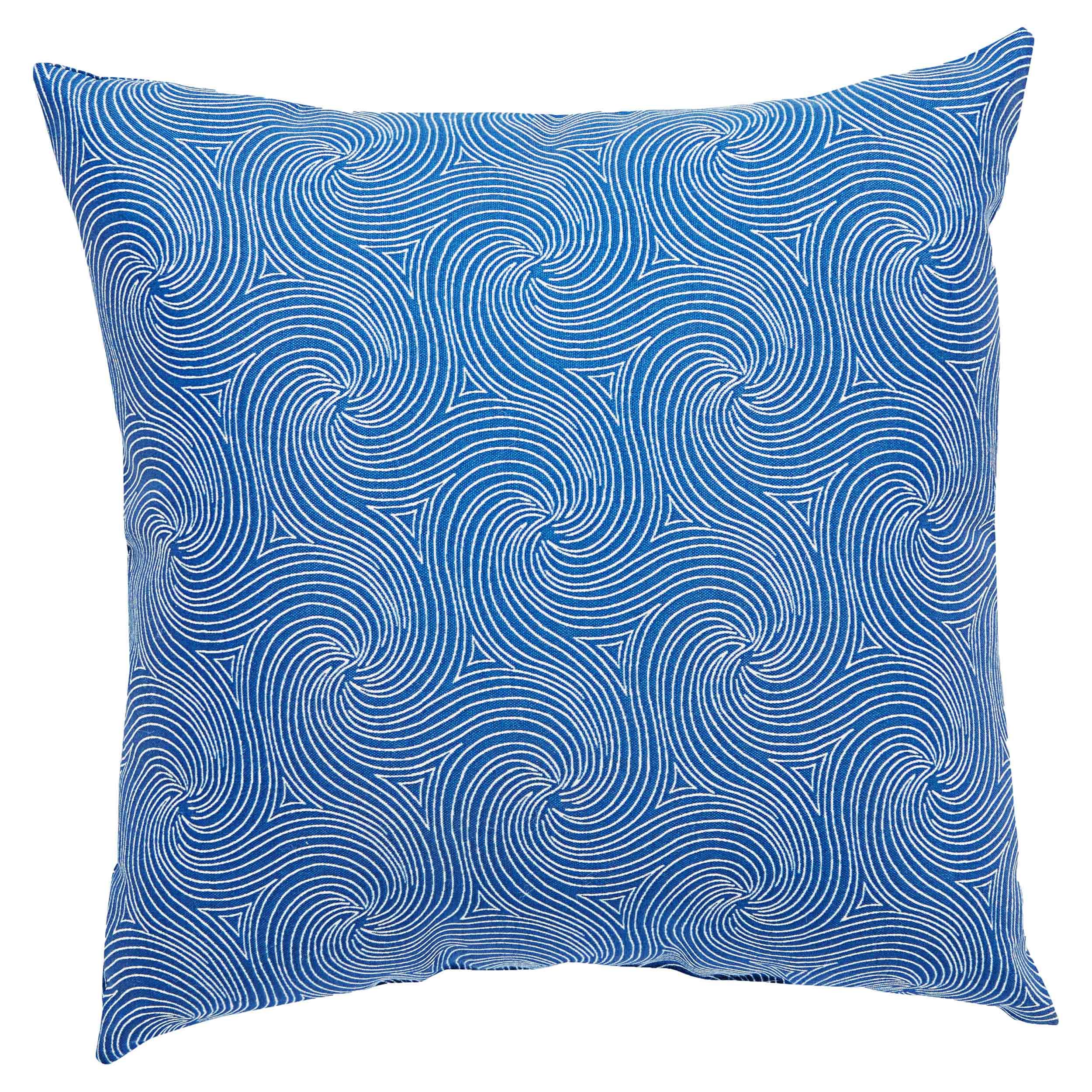 Waves Coastal Modern Blue Outdoor Pillow - 18x18