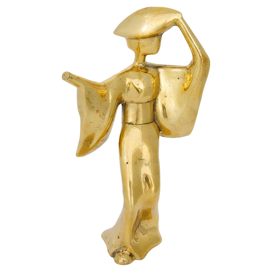Kimono Antique Brass Gazing Figurine