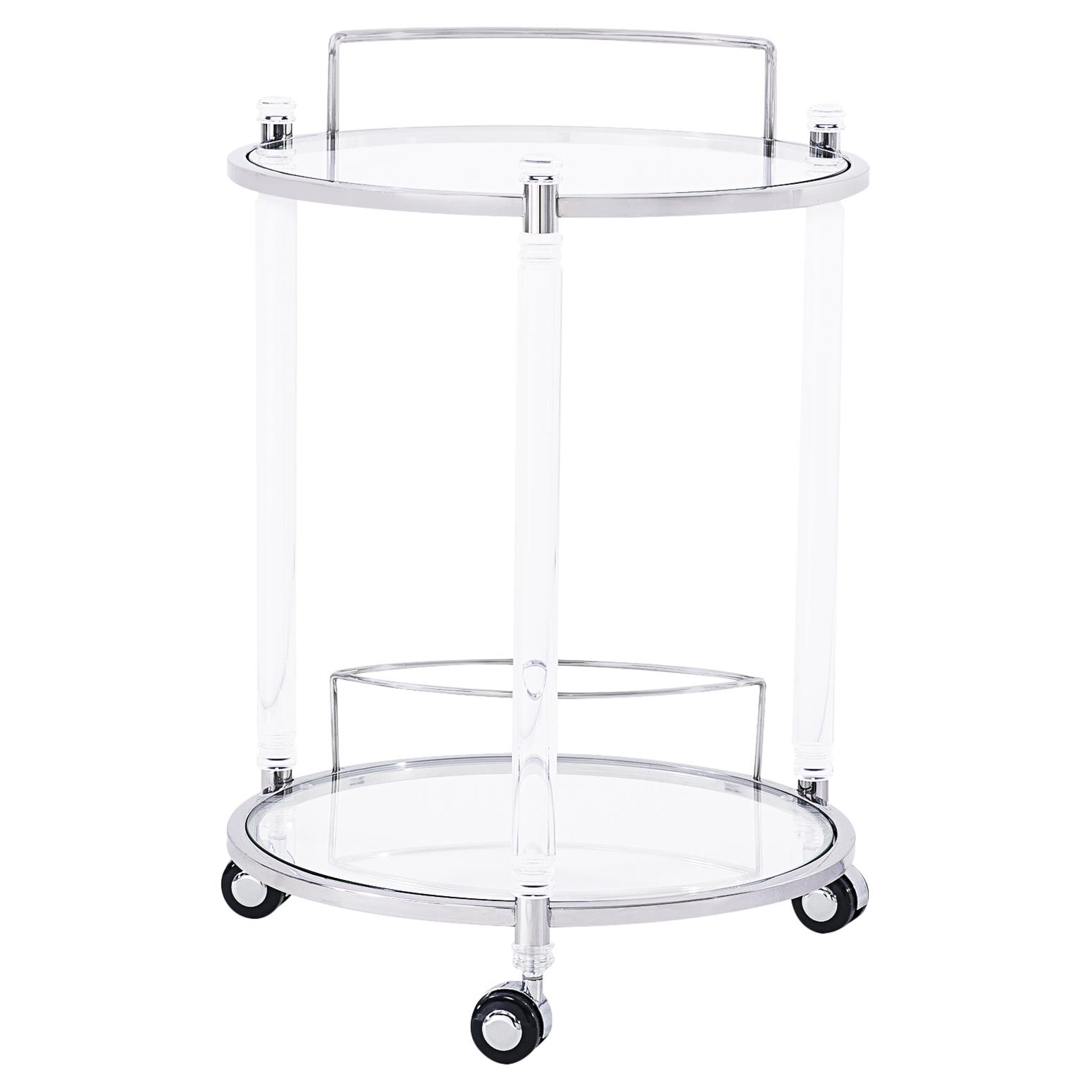 Callan Acrylic Modern Round Silver Bar Cart