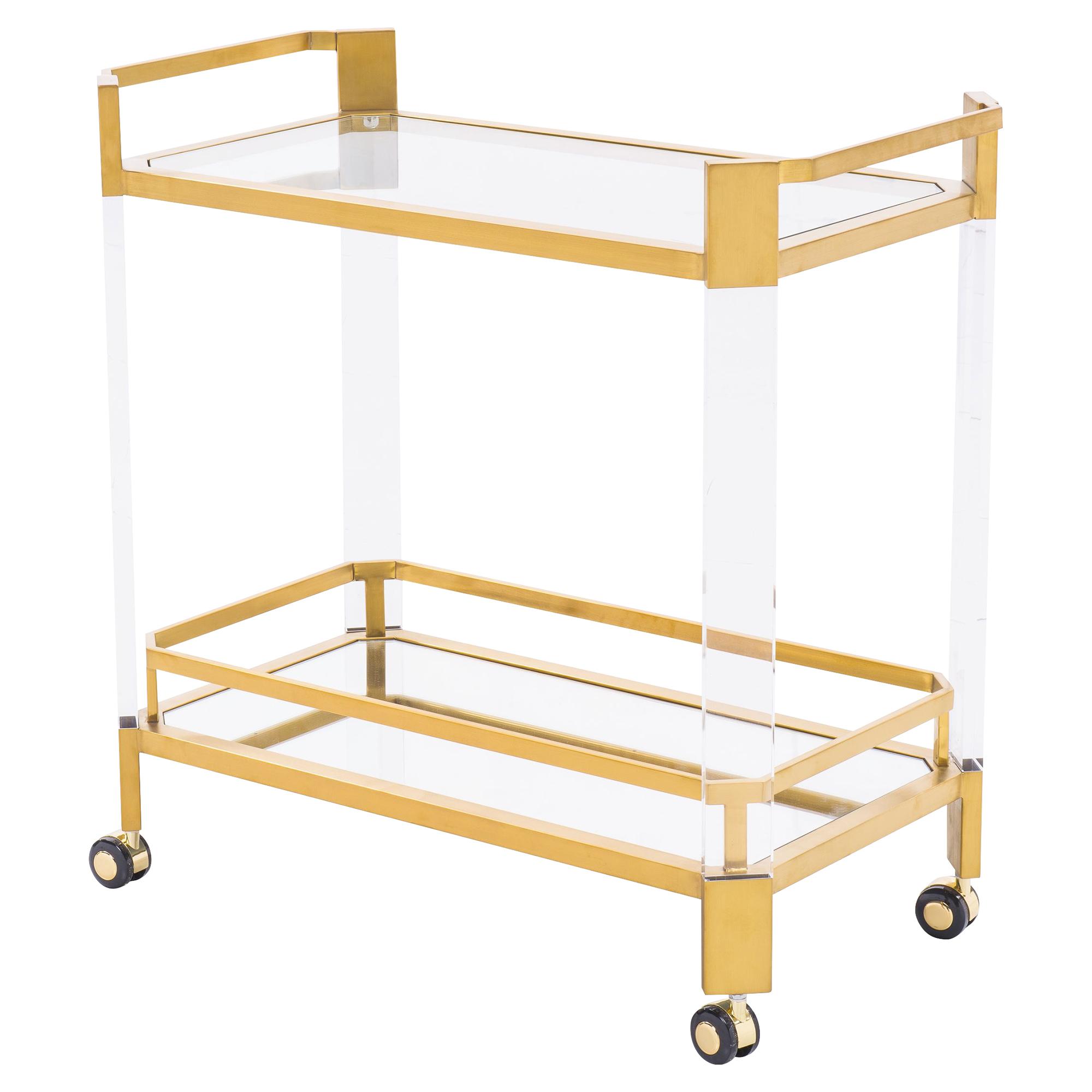 Warren Modern Angled Acrylic Gold Bar Cart