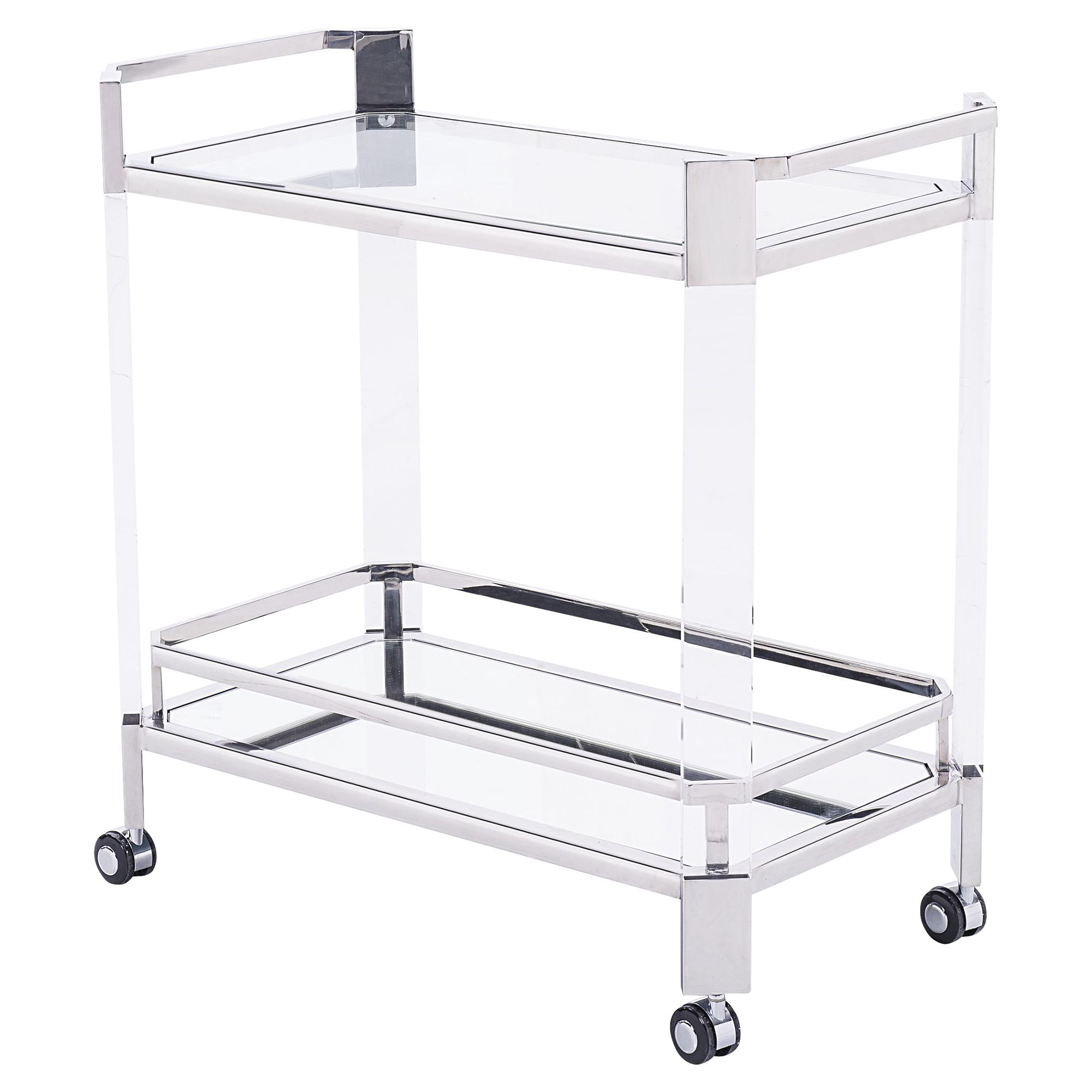 Warren Modern Angled Acrylic Silver Bar Cart