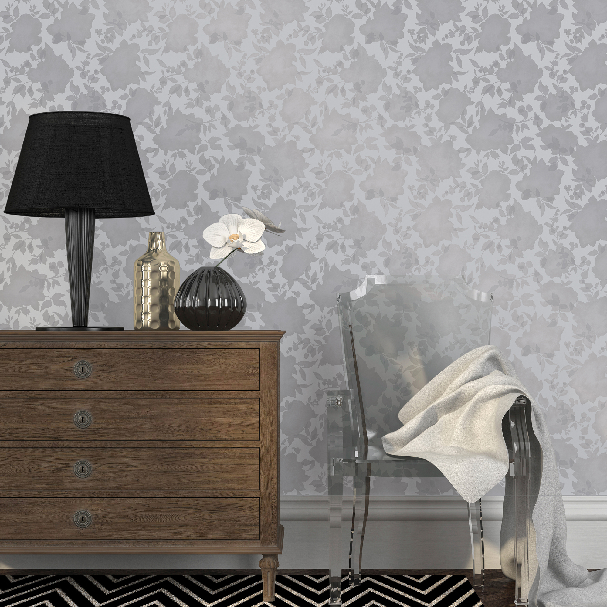 Metallic Floral Silver Hollywood Regency Removable Wallpaper
