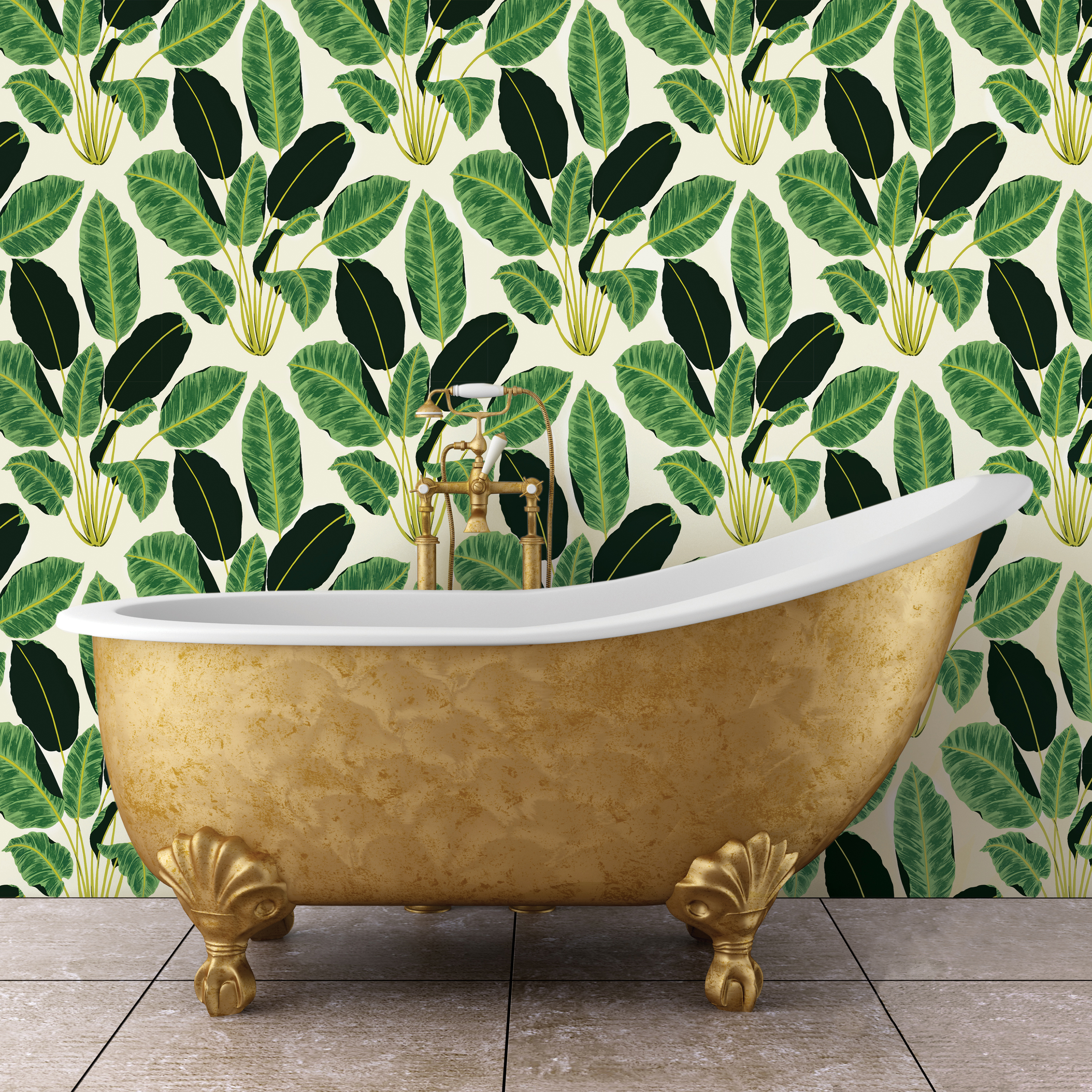 Bold Green Leaves Removable Wallpaper