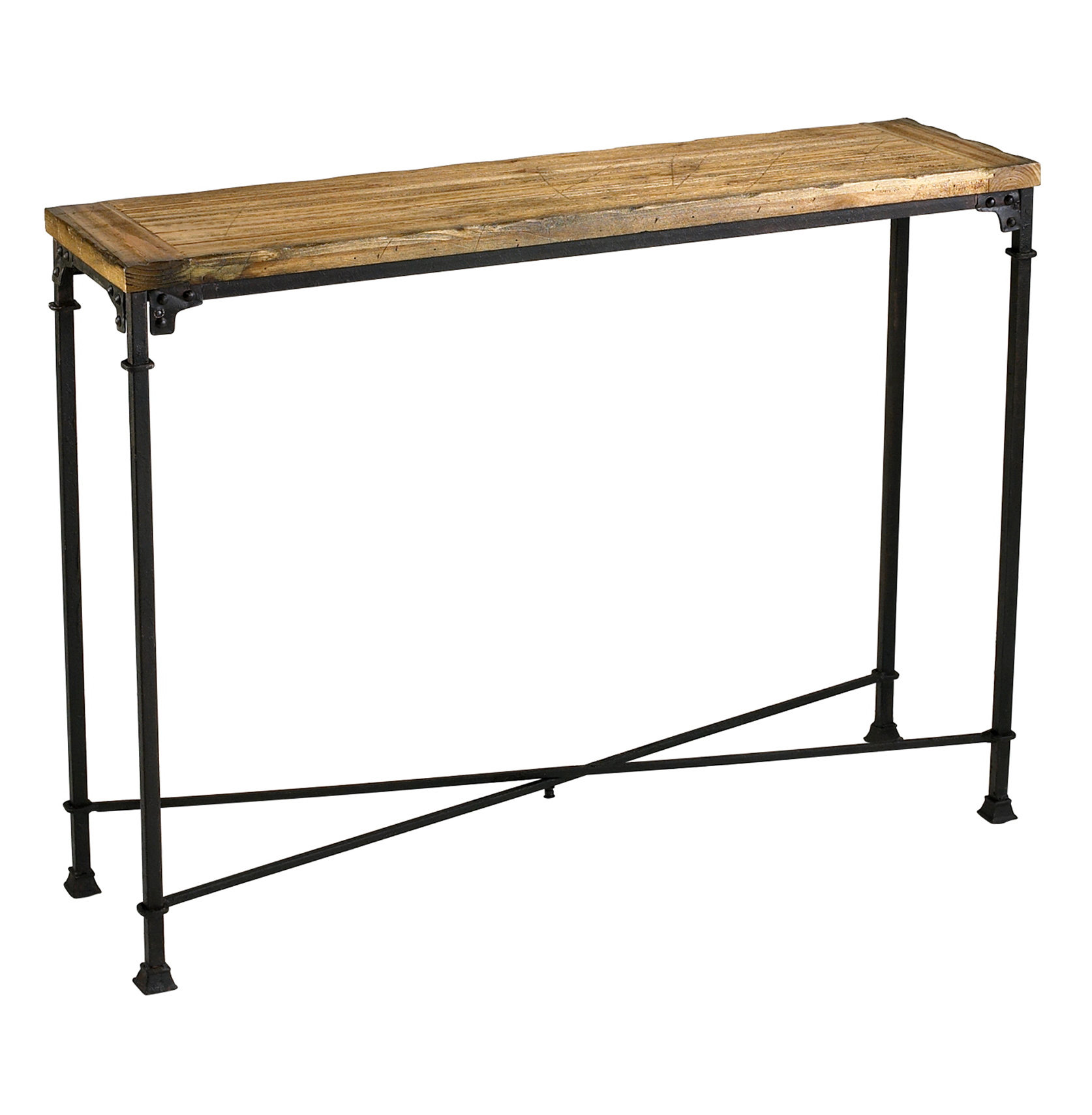 Cunningham reclaimed wood industrial loft style modern Metal console table