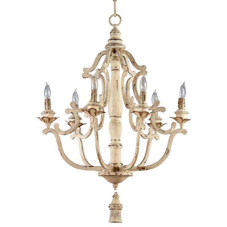 Maison French Country Antique White 6 Light Chandelier Designer Chandeliers Eclectic Kathy Kuo Home