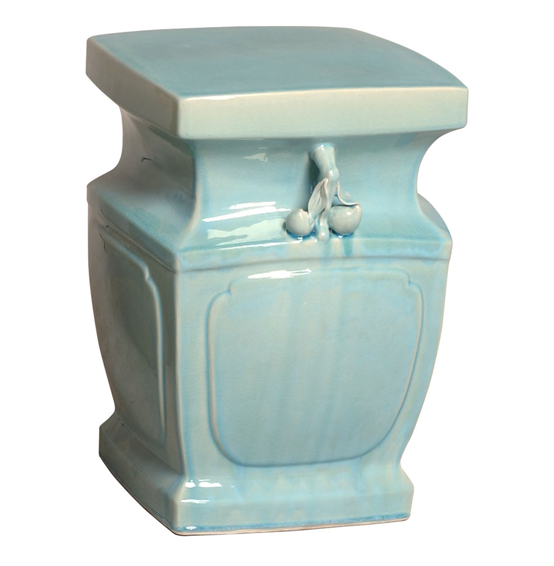 Double Peach Light Blue Coastal Beach Asian Inspired Garden Stool Seat