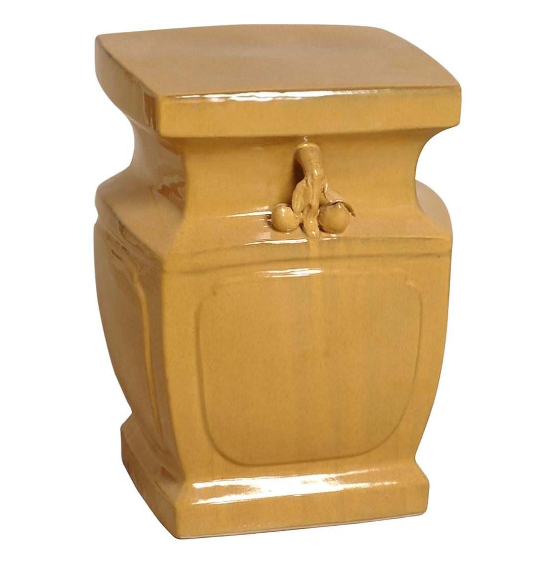 Double Peach Yellow Orange Asian Inspired Garden Stool Seat