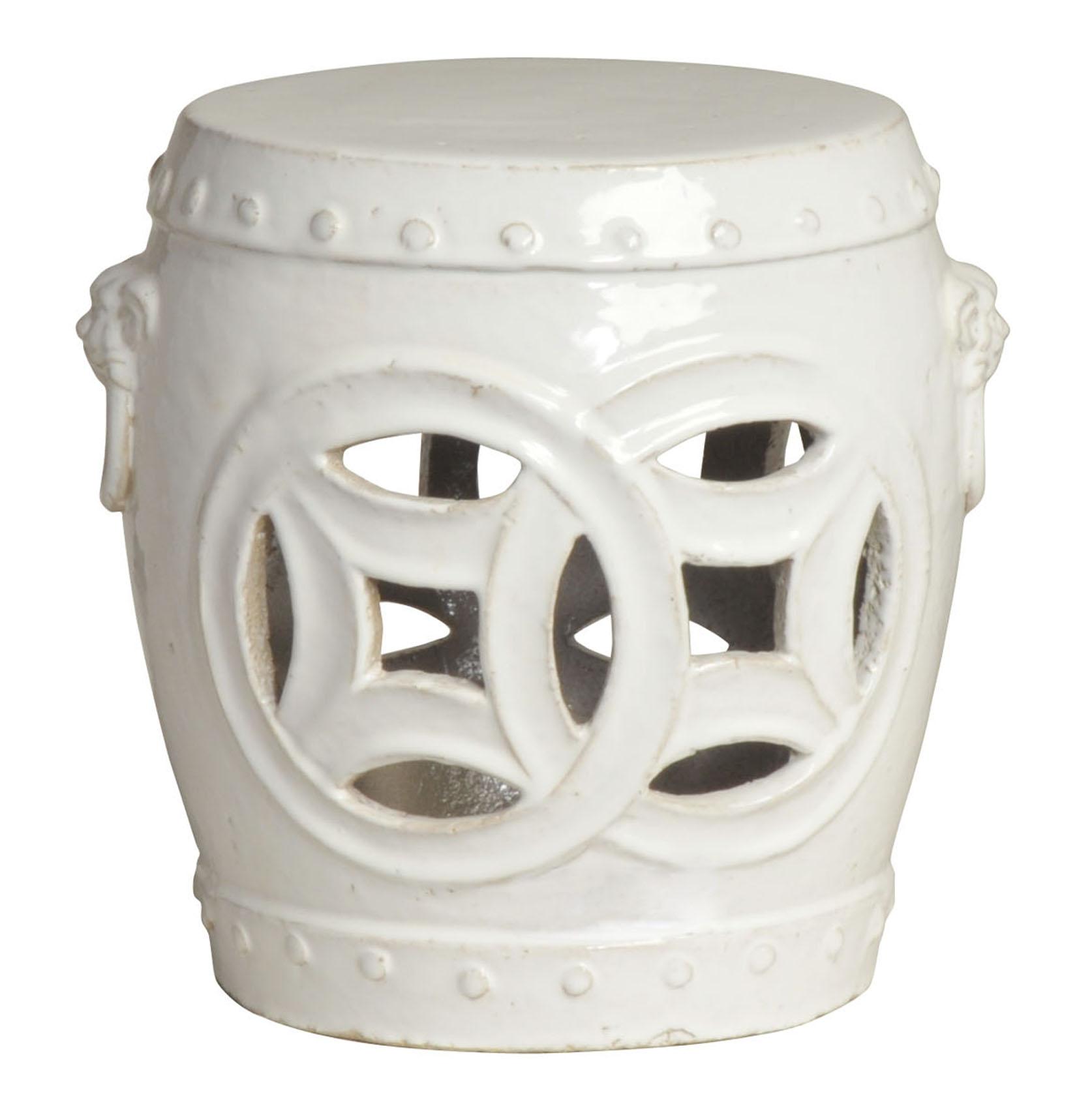 Double Fortune White Pierced Asian Garden Seat Stool