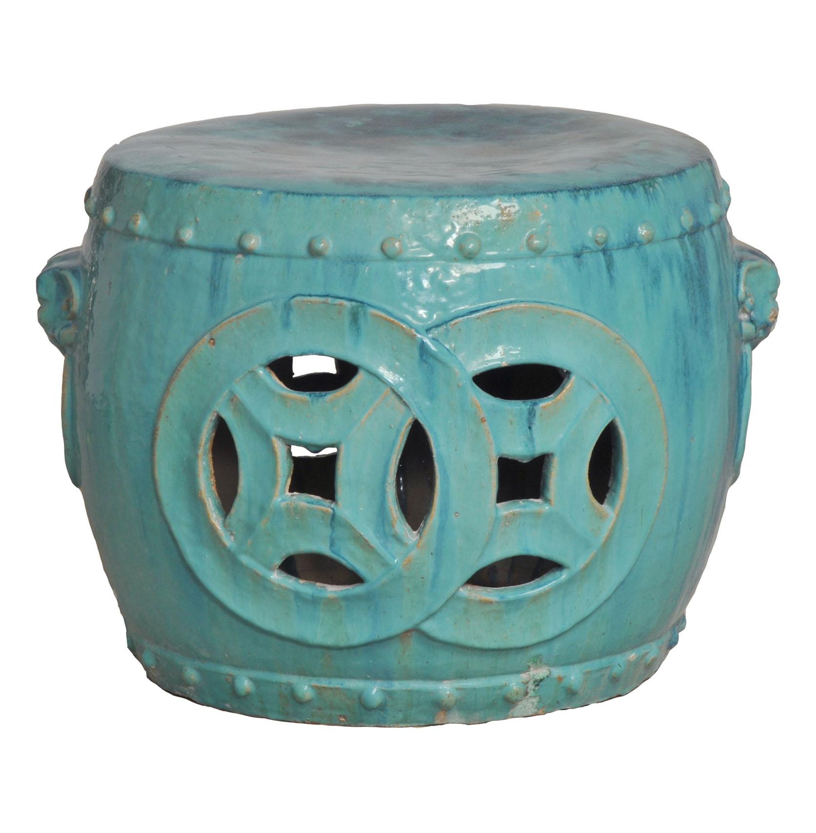 Antique Green Glaze Double Fortune Rare Garden Seat Drum 27 Inch