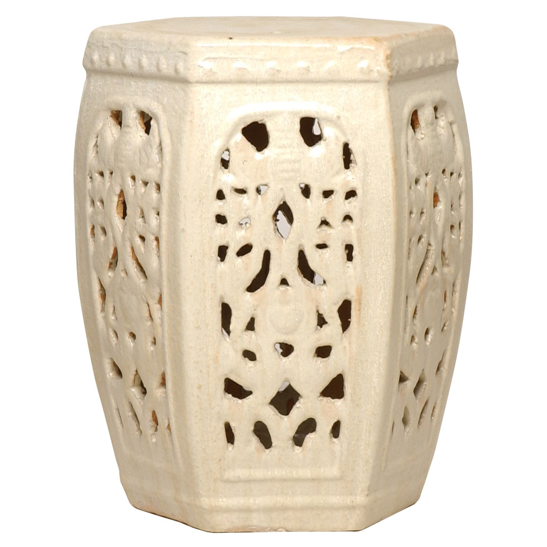 Hexagon Pierced Ceramic Garden Stool- Champagne Antique White Glaze