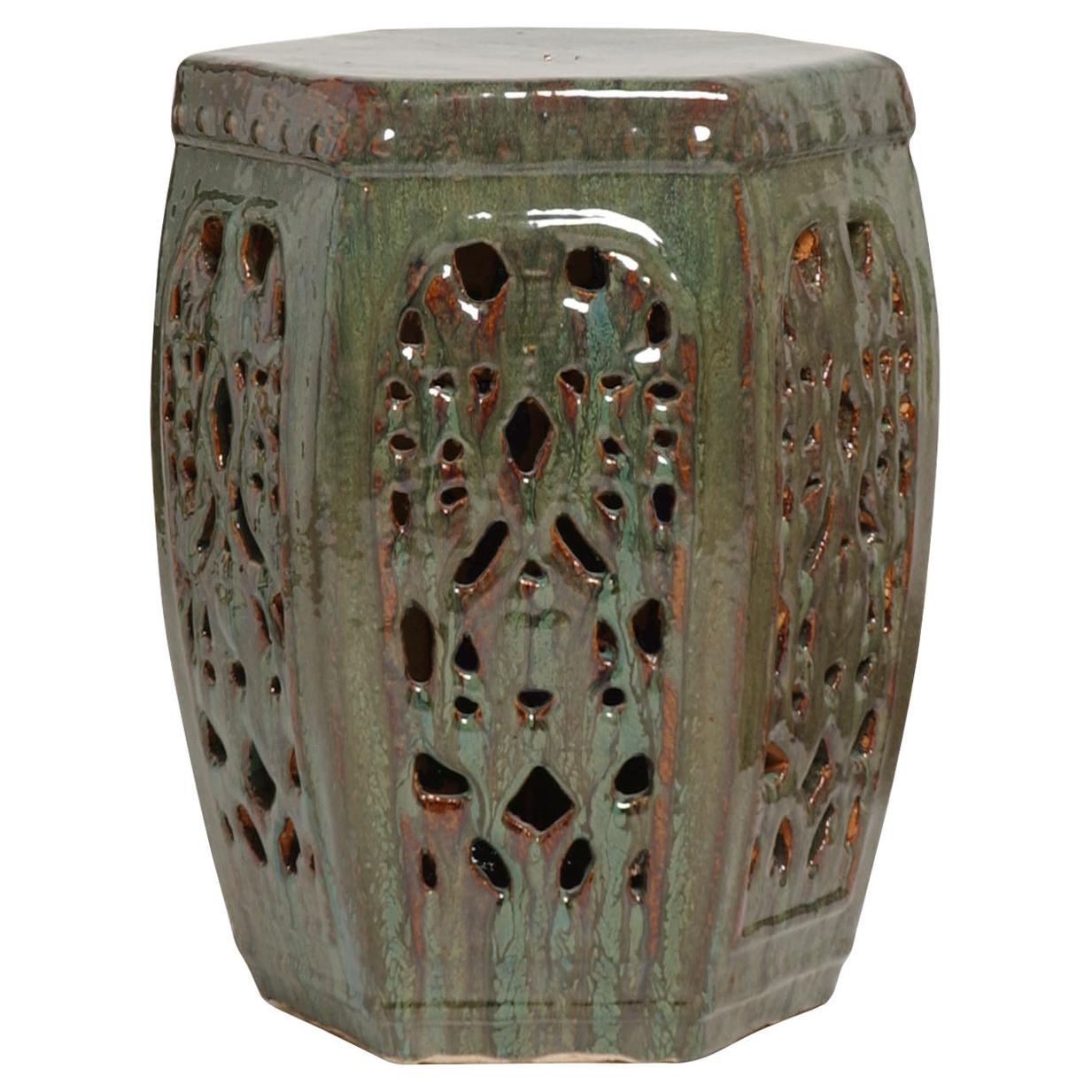 Hexagon Pierced Asian Braided Garden Stool- Antique Green Moss