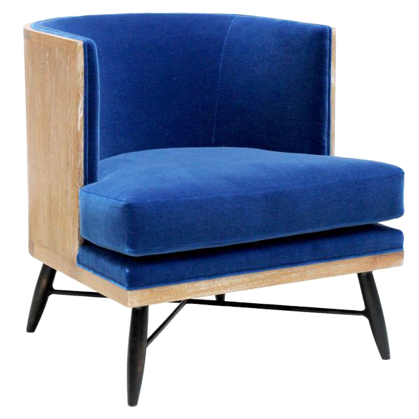 Wyatt Oly Royal Blue Velvet Lounge Chair