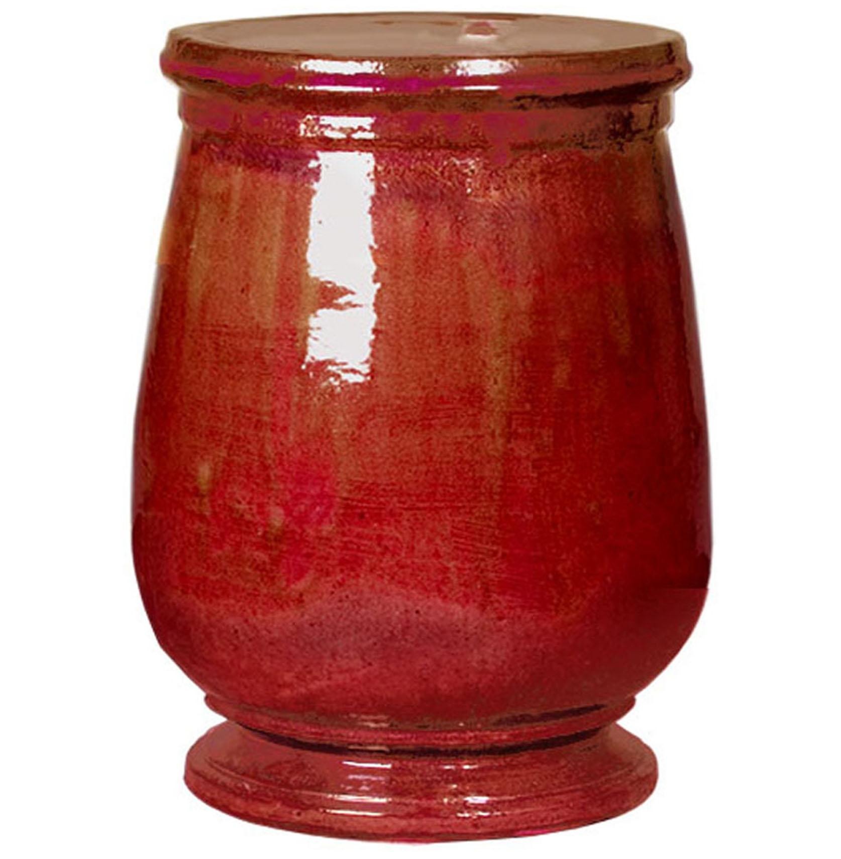 Tuscan Red Urn Shaped Ceramic Garden Stool Seat