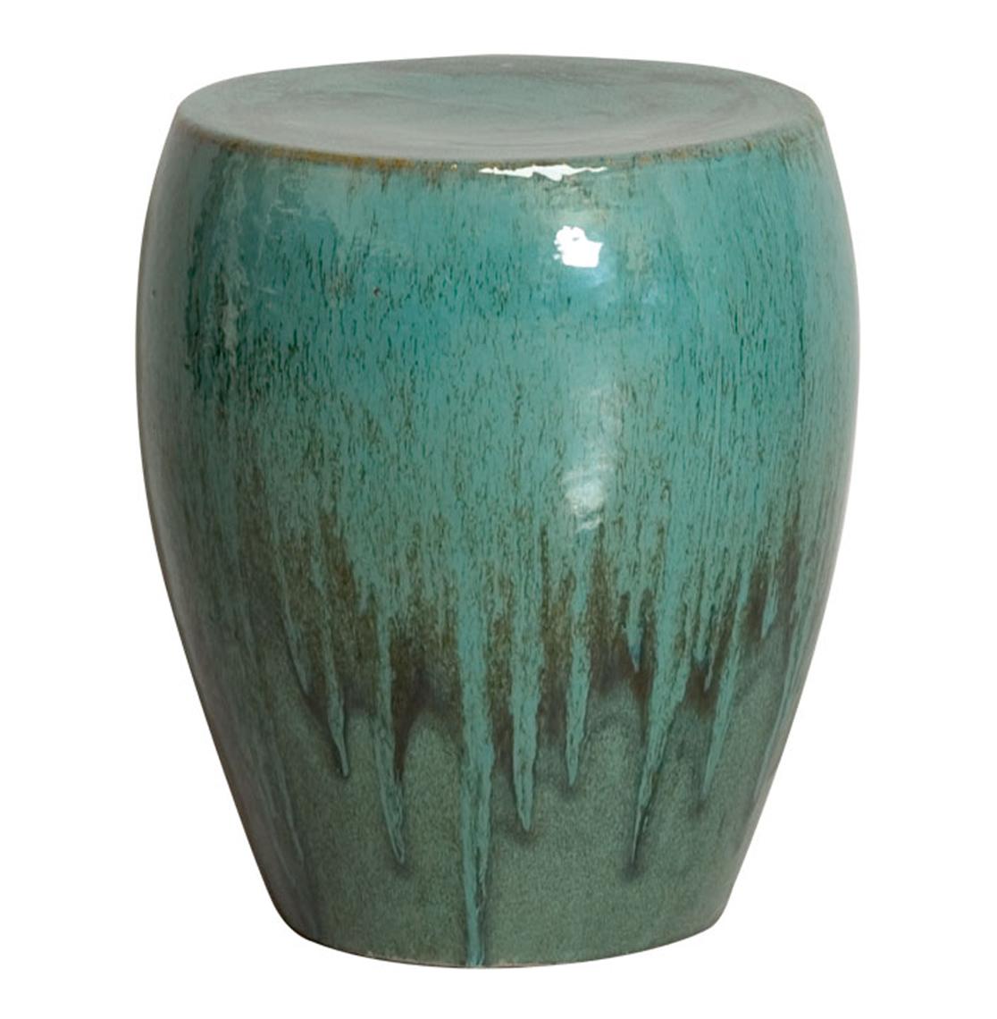 Beau Teal Green Frost Coastal Beach Simple Ceramic Garden Seat Stool