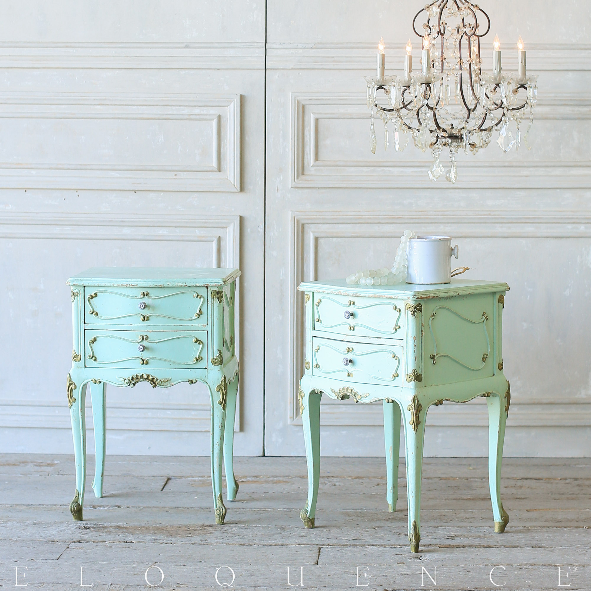 French Country Style Eloquence® Pair of Vintage Nightstands: 1940