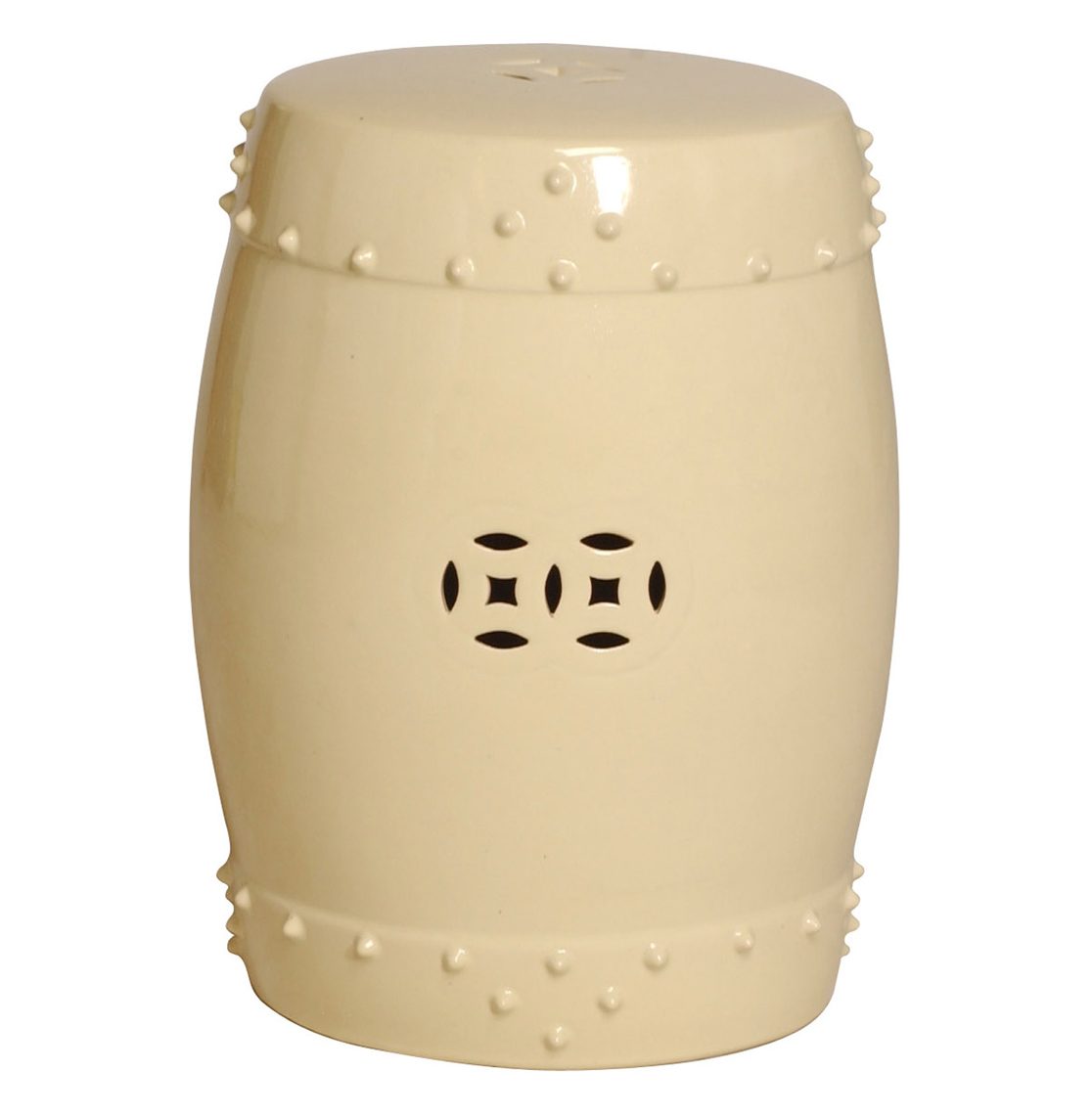 Classic Prosperity Ivory Cream Ceramic Pierced Garden Seat Stool