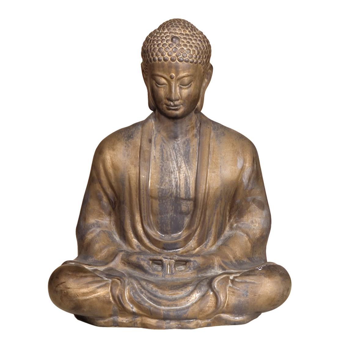 Antique Bronze Ceramic Meditating Buddha Lotus Seat Sculpture - 23 Inch