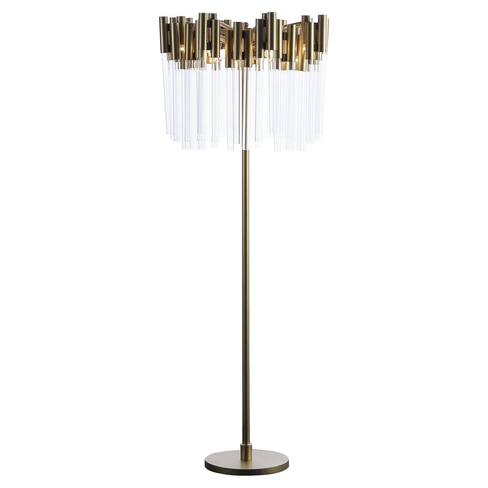 lamp crystal light lighting two lamps metal floor