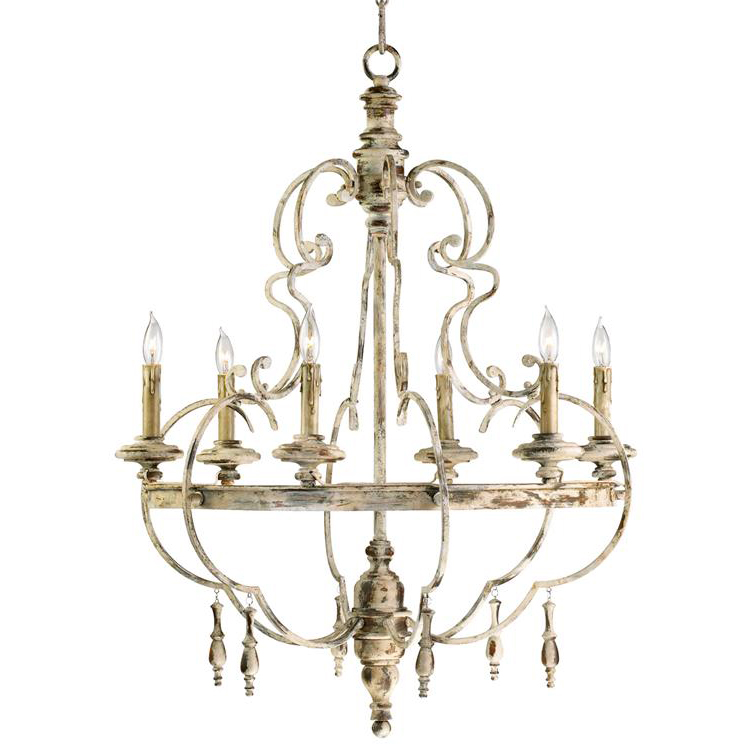 Da Vinci 6 Light French Country Antique Ivory Chandelier