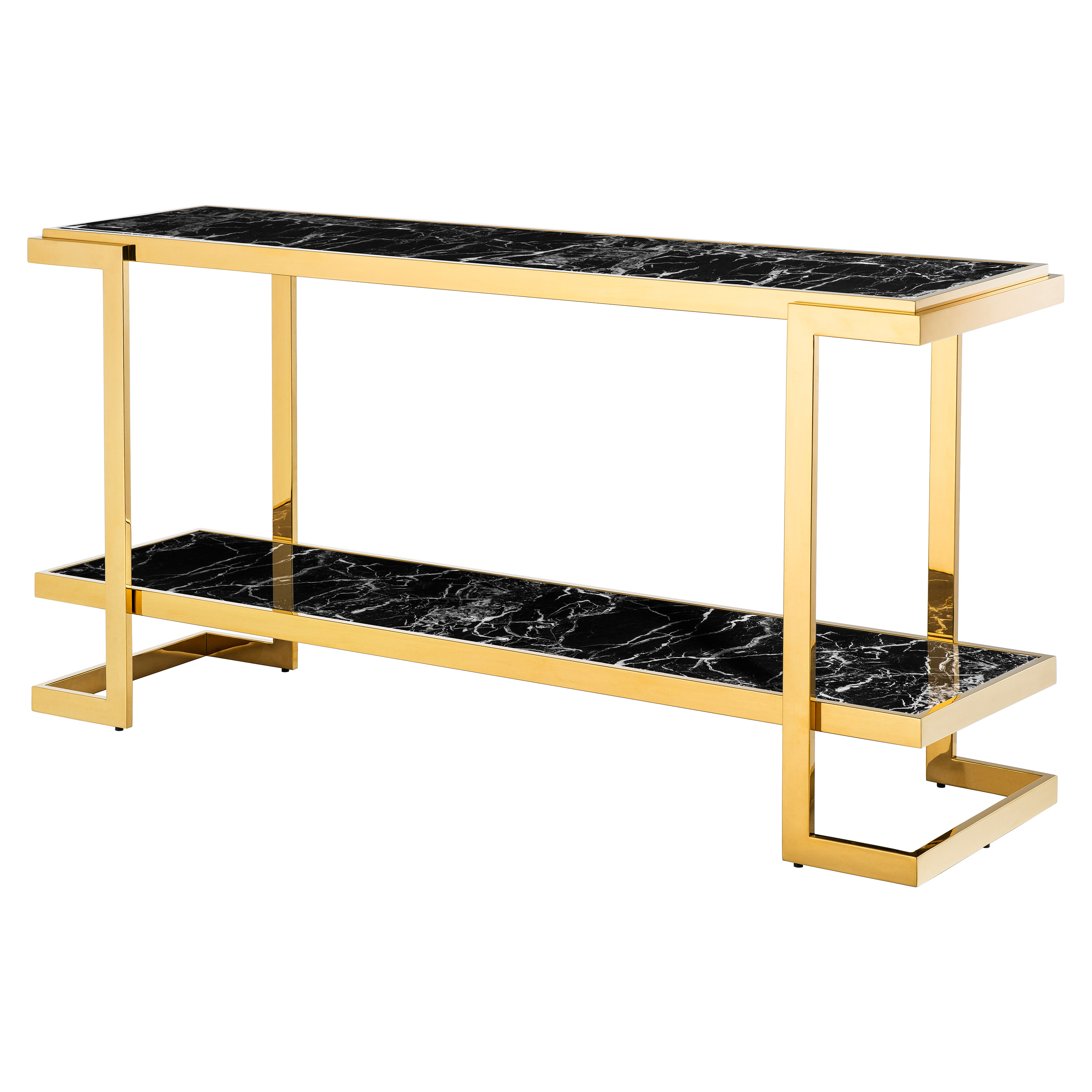 Eichholtz Senato Hollywood Regency Black Faux Marble Gold Tiered Console Table
