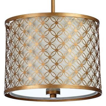 Round Lattice Antique Brass Metal Filigree Pendant Lamp - 16 Inch